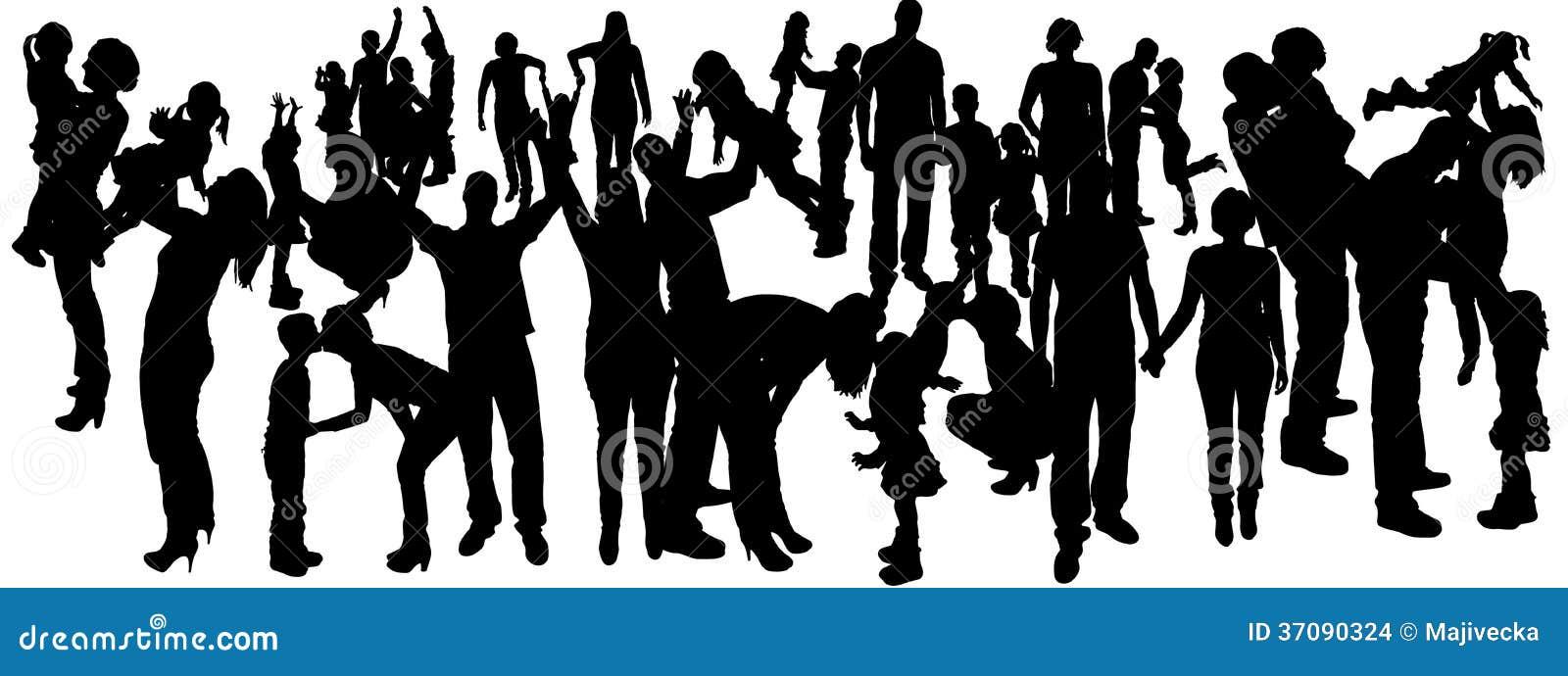 Download Wektorowa Ilustracja Z Rodzinnymi Sylwetkami. Ilustracja Wektor - Ilustracja złożonej z kochankowie, szczęśliwy: 37090324