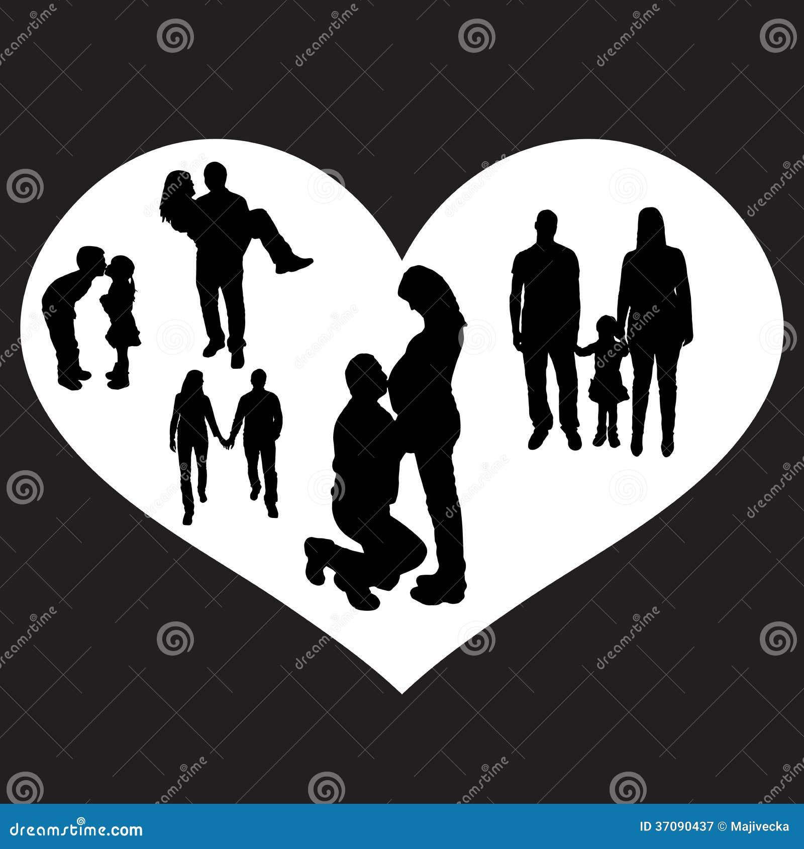 Download Wektorowa Ilustracja Z Rodzinnymi Sylwetkami. Ilustracja Wektor - Ilustracja złożonej z chłopiec, pary: 37090437