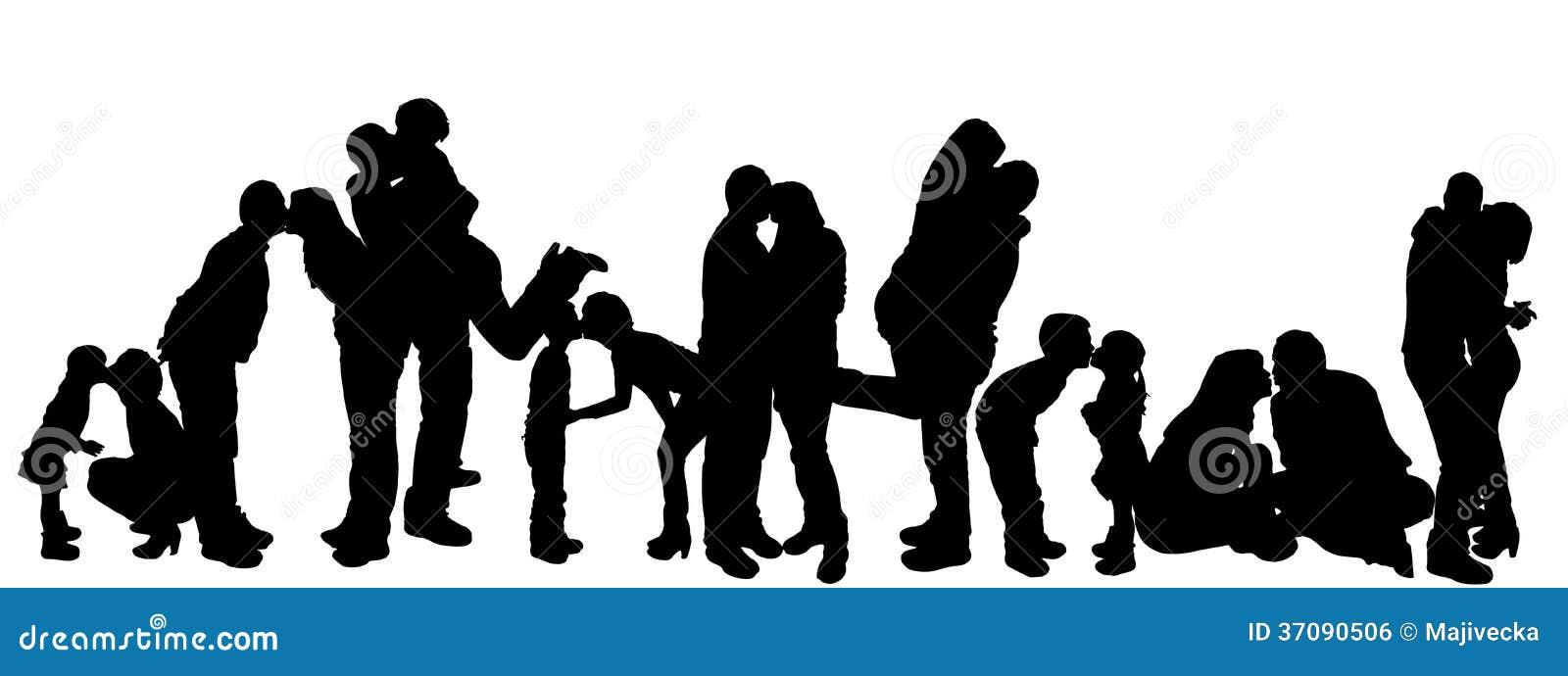 Download Wektorowa Ilustracja Z Rodzinnymi Sylwetkami. Ilustracja Wektor - Ilustracja złożonej z pary, data: 37090506