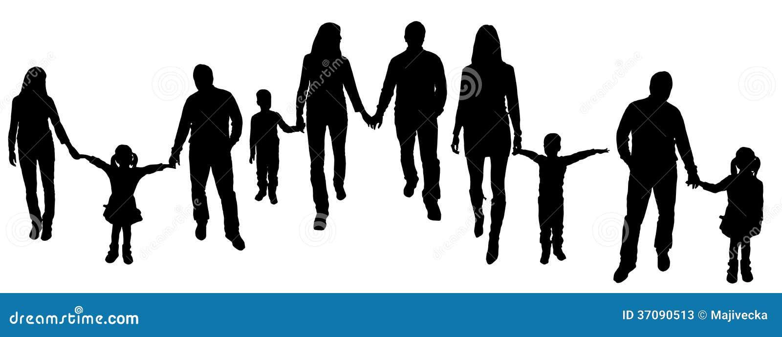 Download Wektorowa Ilustracja Z Rodzinnymi Sylwetkami. Ilustracja Wektor - Ilustracja złożonej z taniec, dzieci: 37090513