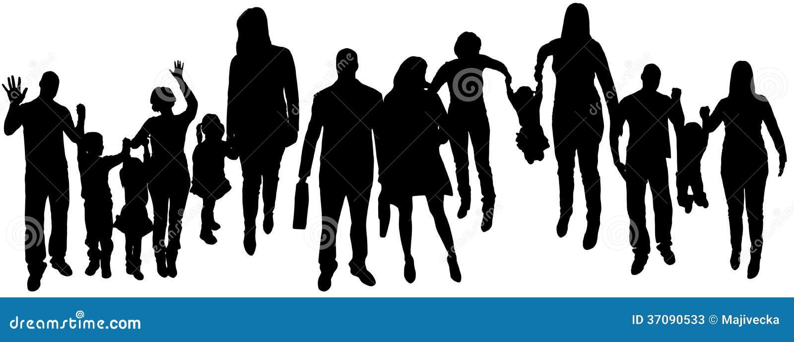 Download Wektorowa Ilustracja Z Rodzinnymi Sylwetkami. Ilustracja Wektor - Ilustracja złożonej z bluza, dzieci: 37090533