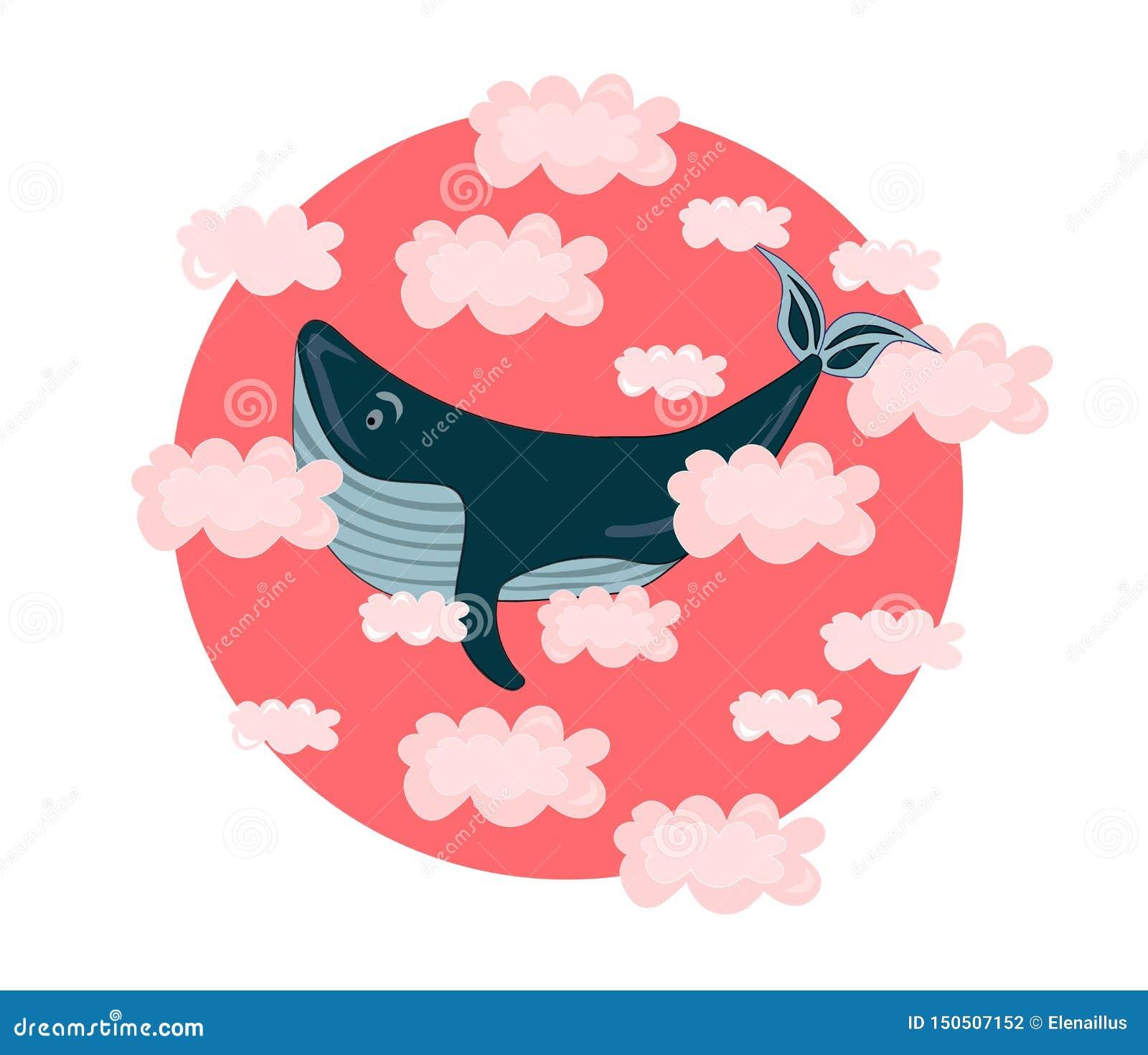 Wektorowa ilustracja z wielorybem w różowych chmurach Dziecko, dzieci, śliczni, kawaii druk