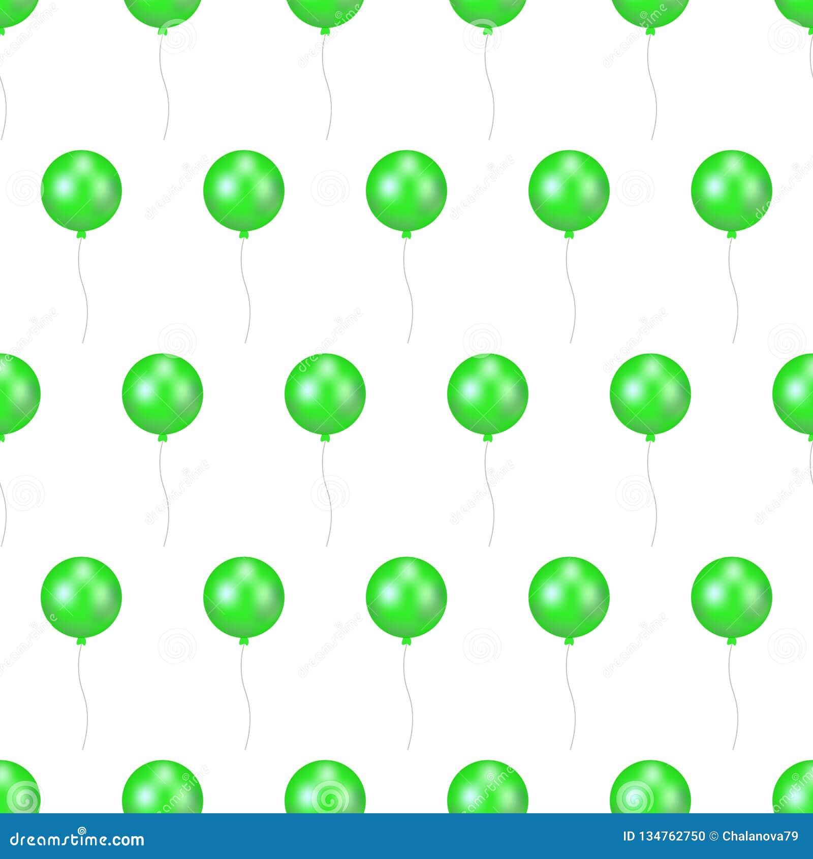 Wektorowa ilustracja zieleń balon z faborkiem lotniczy latanie balon odizolowywający na białym tle bezszwowy wzoru