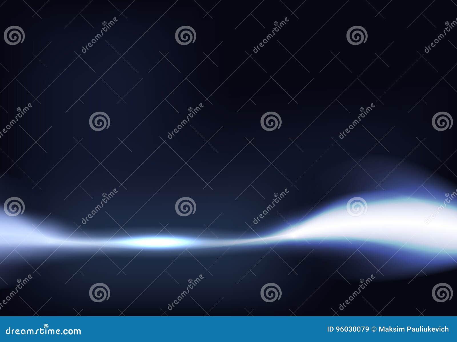 Wektorowa ilustracja zmrok - błękitny sztandar z rozjarzonym lekkim skutkiem