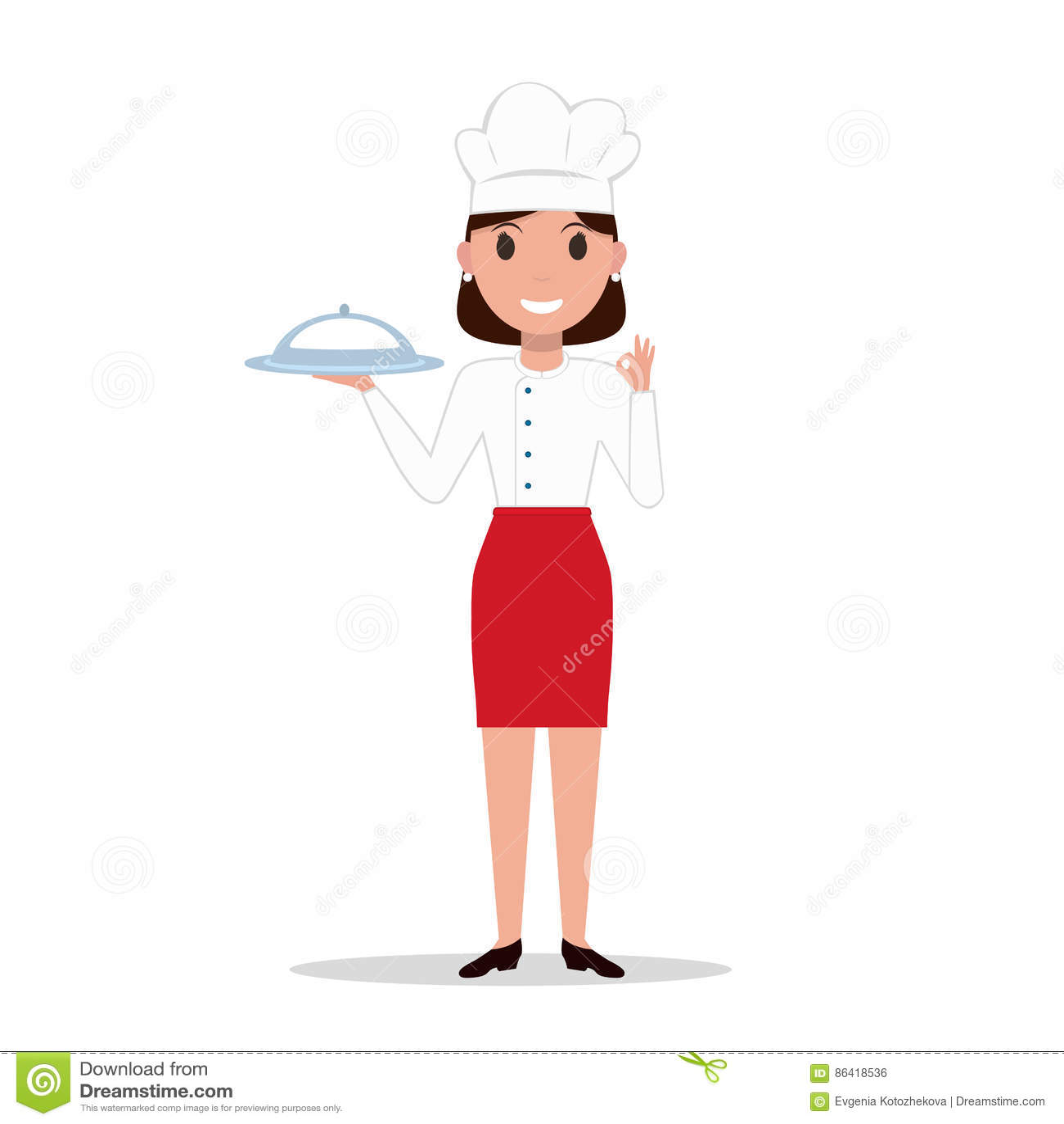 Wektorowa ilustracyjna kreskówka szefa kuchni kucharza kobieta