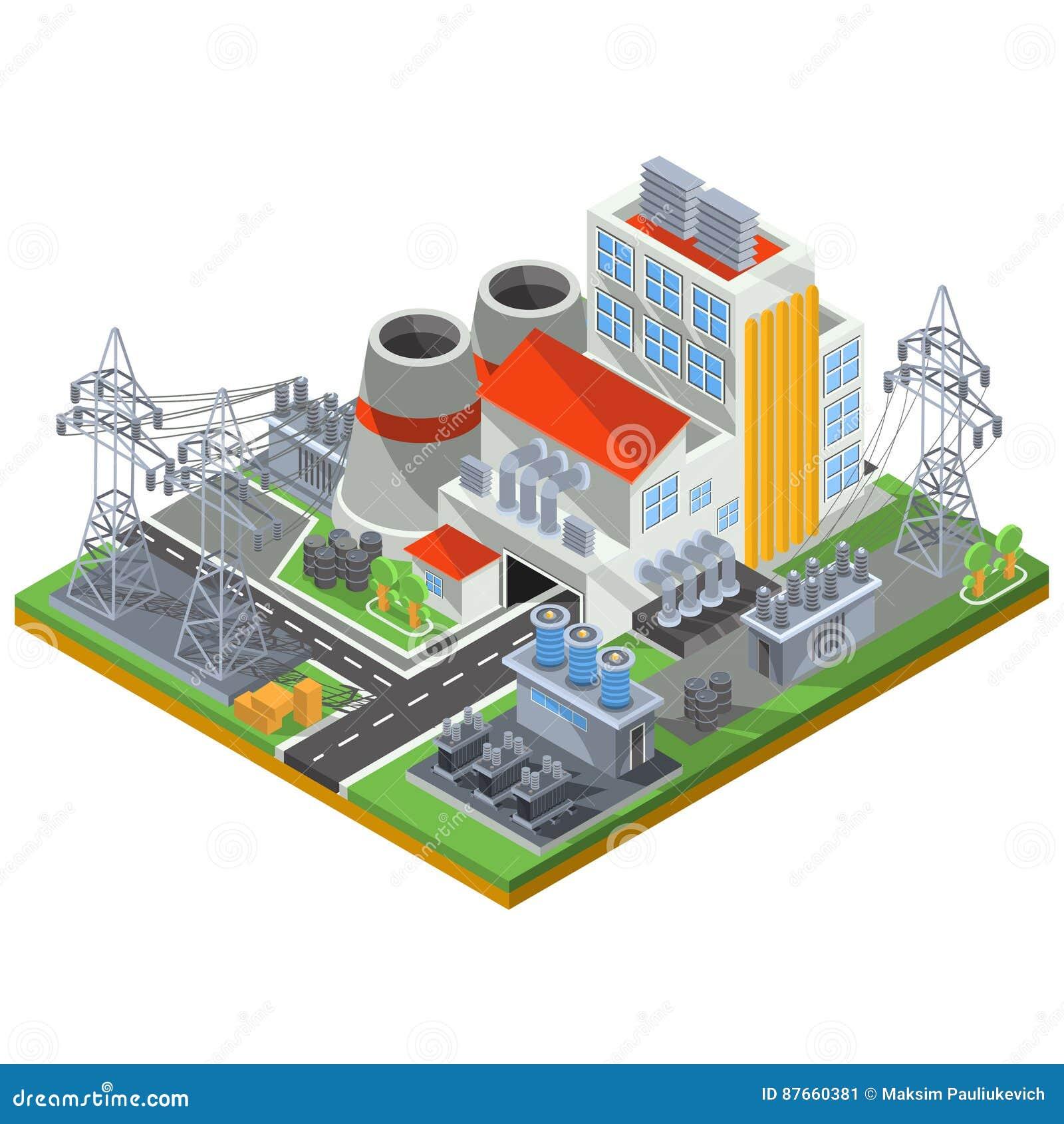 Wektorowa isometric ilustracja termiczna elektrownia dla produkci elektryczna energia