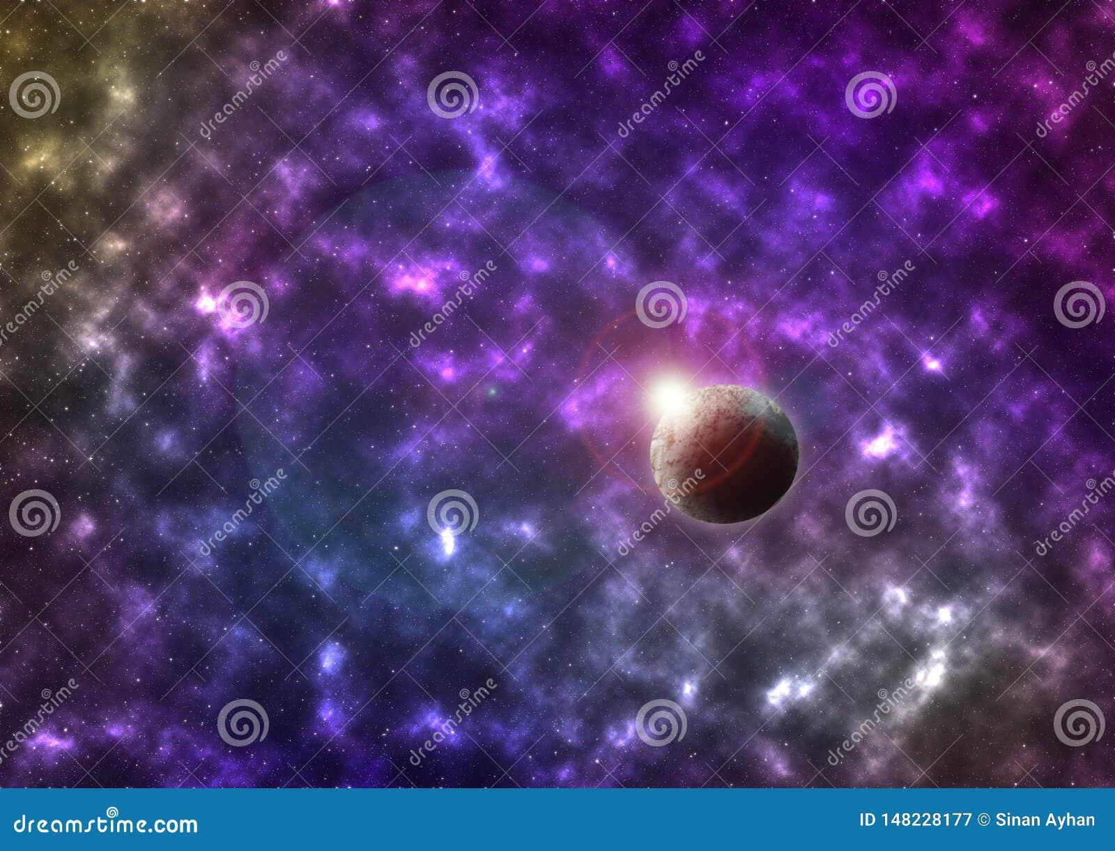Wektorowa jaskrawa kolorowa kosmos ilustracja z planetą