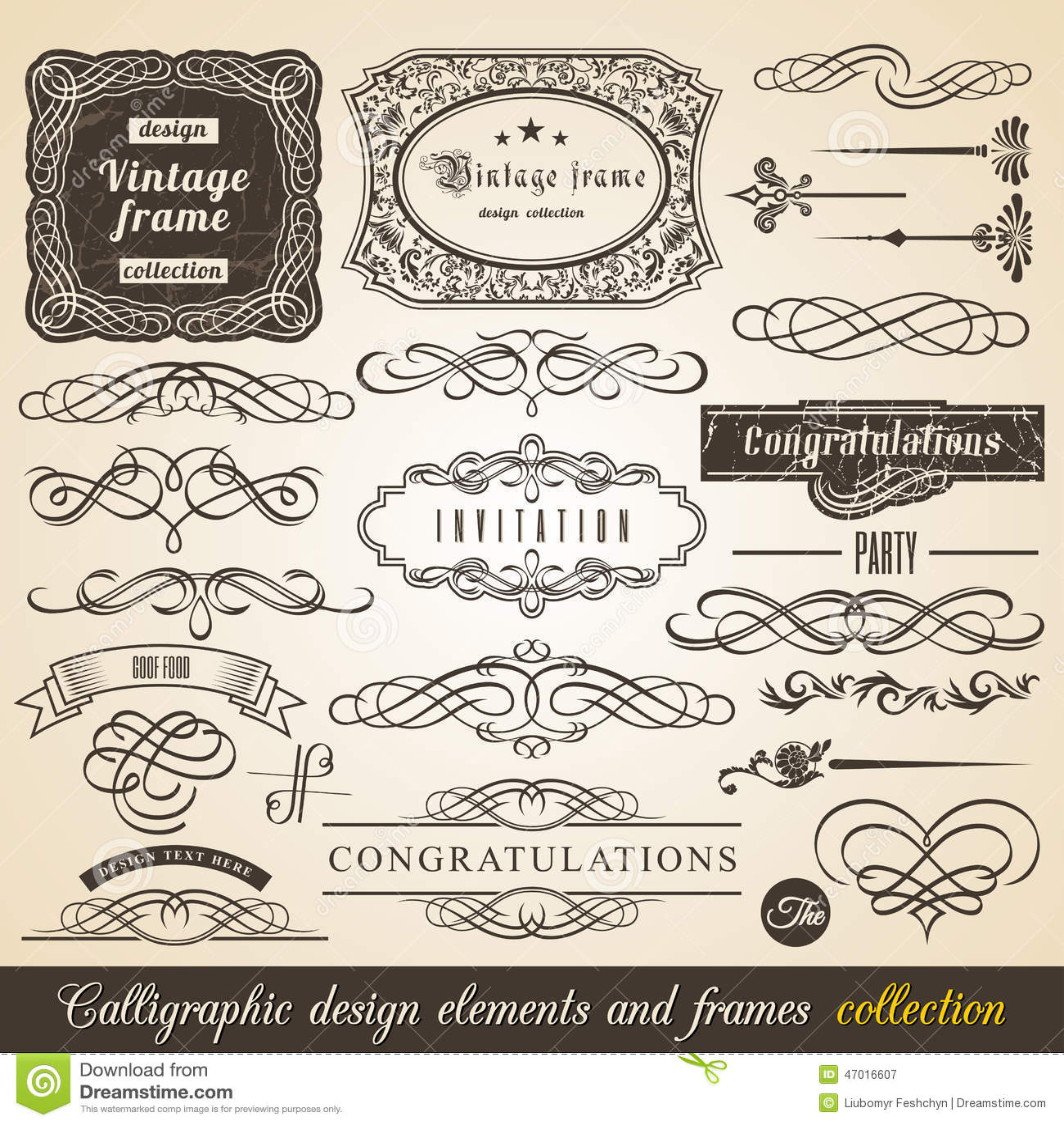 Wektorowa Kaligraficzna element granicy kąta zaproszenia i ramy kolekcja Dekoracja Typograficzni elementy, rocznik etykietki, fab