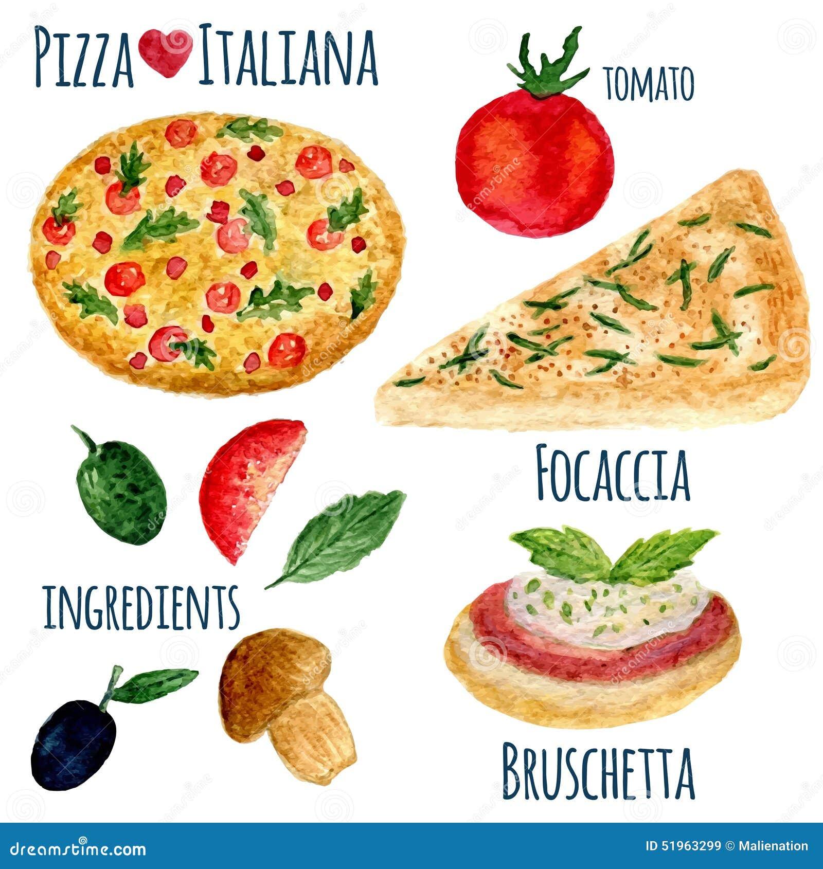 Wektorowa kolekcja akwareli pizzy ilustracja odizolowywająca Italiana menu set