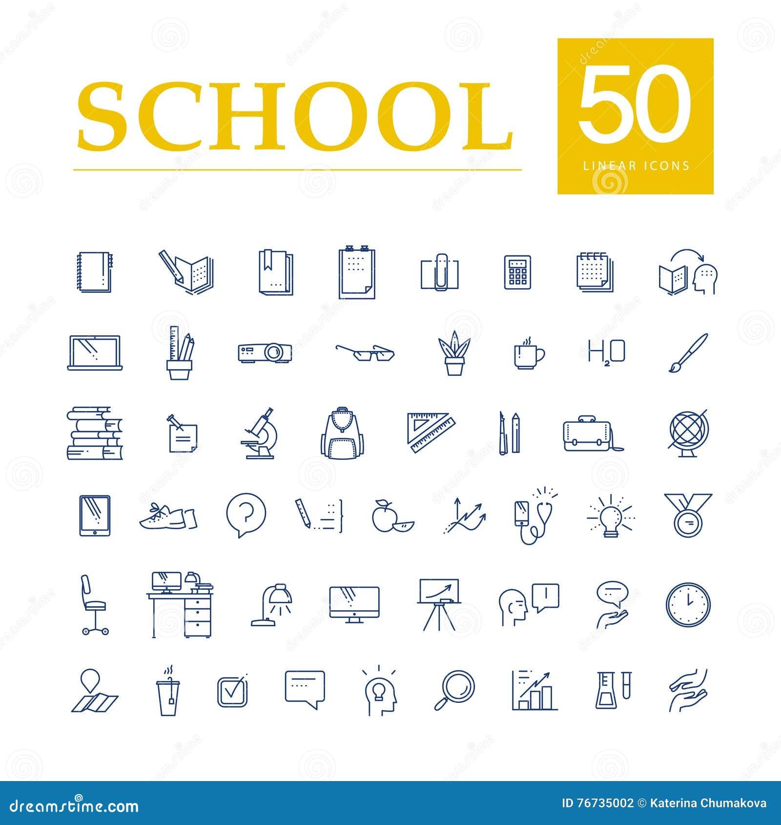 Wektorowa kolekcja płaskie proste liniowe edukacj ikony odizolowywać na białym tle