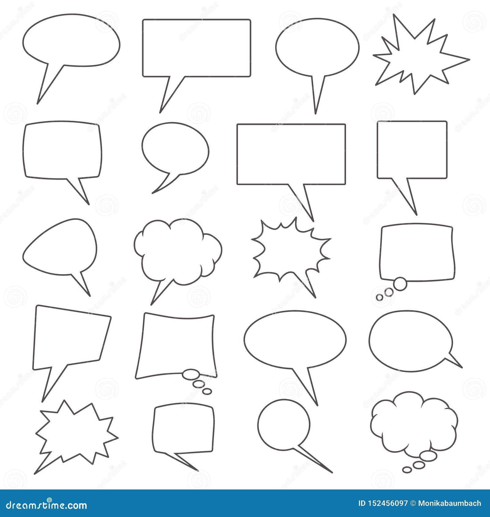 Wektorowa kolekcja 20 różna kształtna komiczna mowa gulgocze
