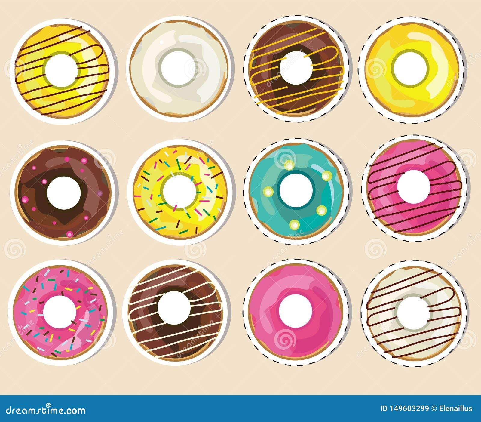 Wektorowa kolekcja, set donuts majchery Realistyczni oszkleni donuts