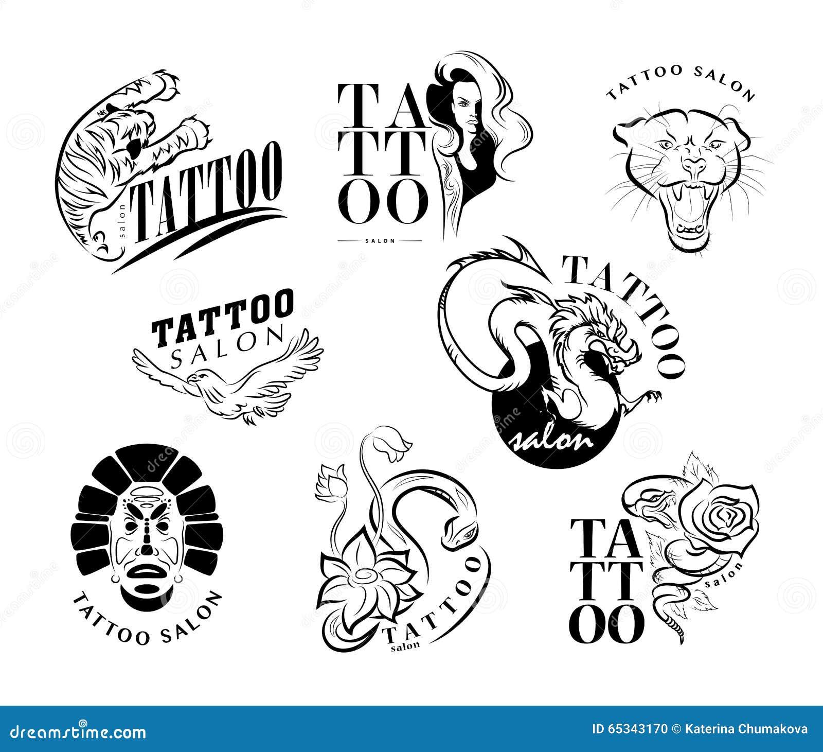 Wektorowa Kolekcja Tatuaży Symbole Ilustracja Wektor