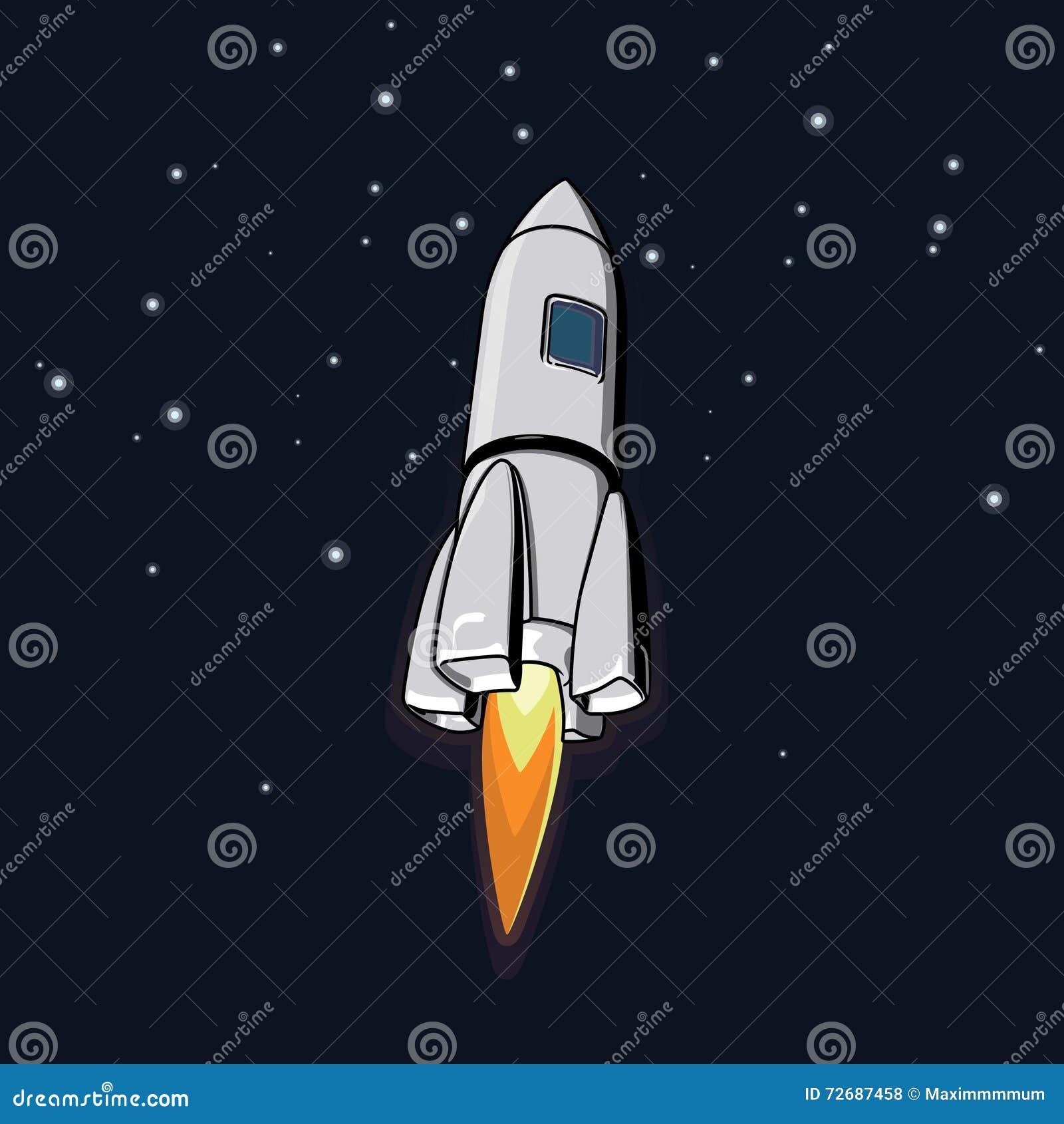 Wektorowa kosmos ilustracja z rakietą