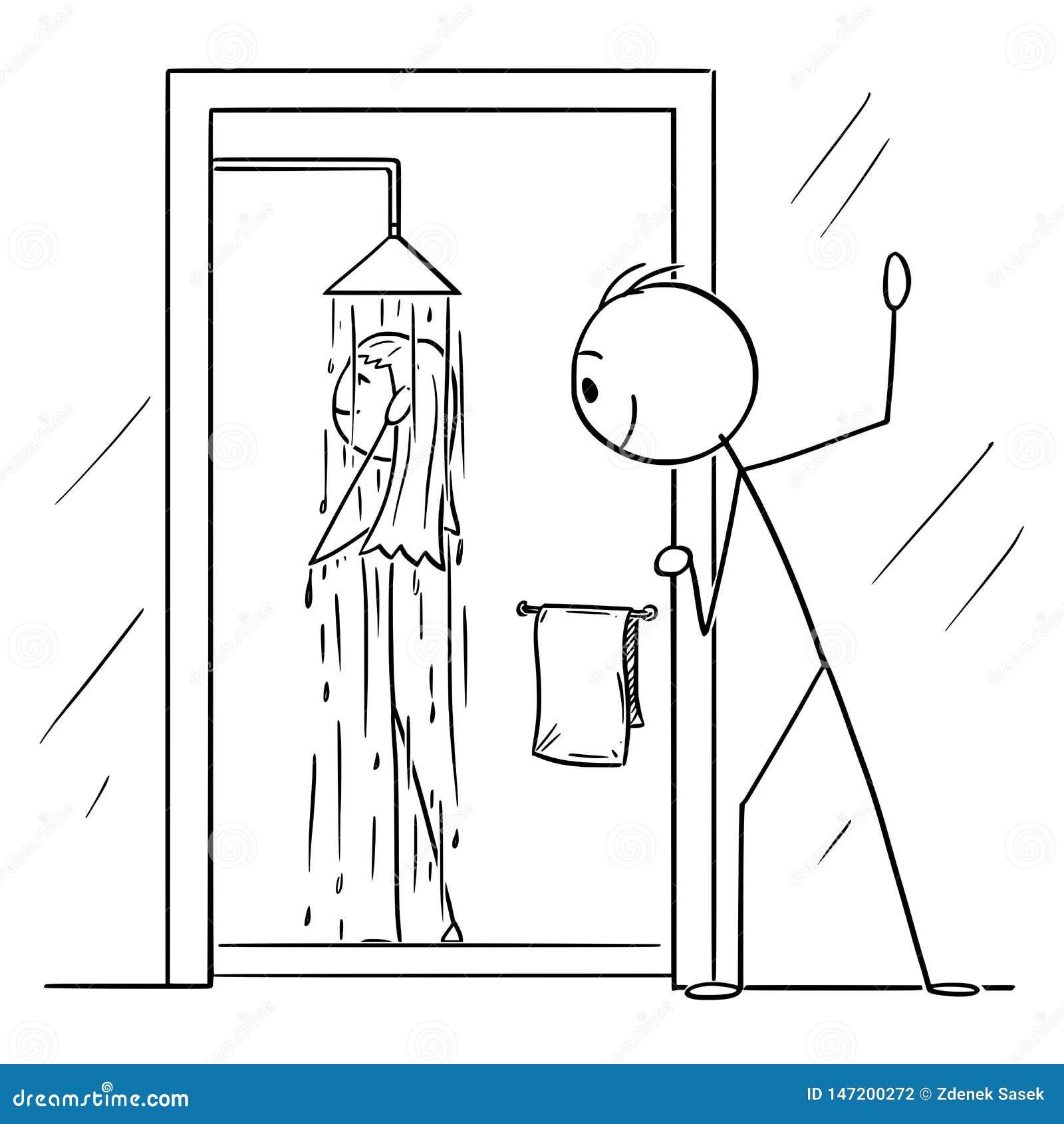 Wektorowa kreskówka Ciekawy mężczyzna lub Voyeur Ogląda Nagiej kobiety Brać prysznic w łazience