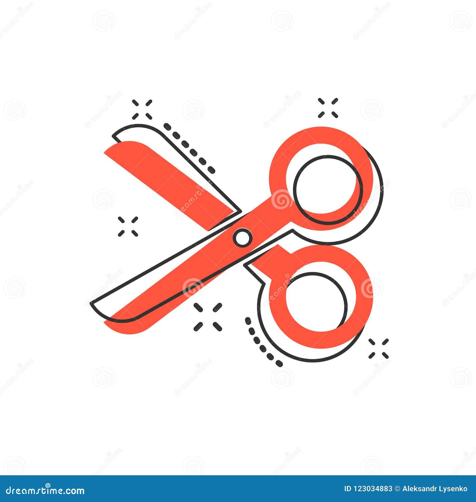 Wektorowa kreskówka nożyc ikona w komiczka stylu Nożycowy szyldowy illust