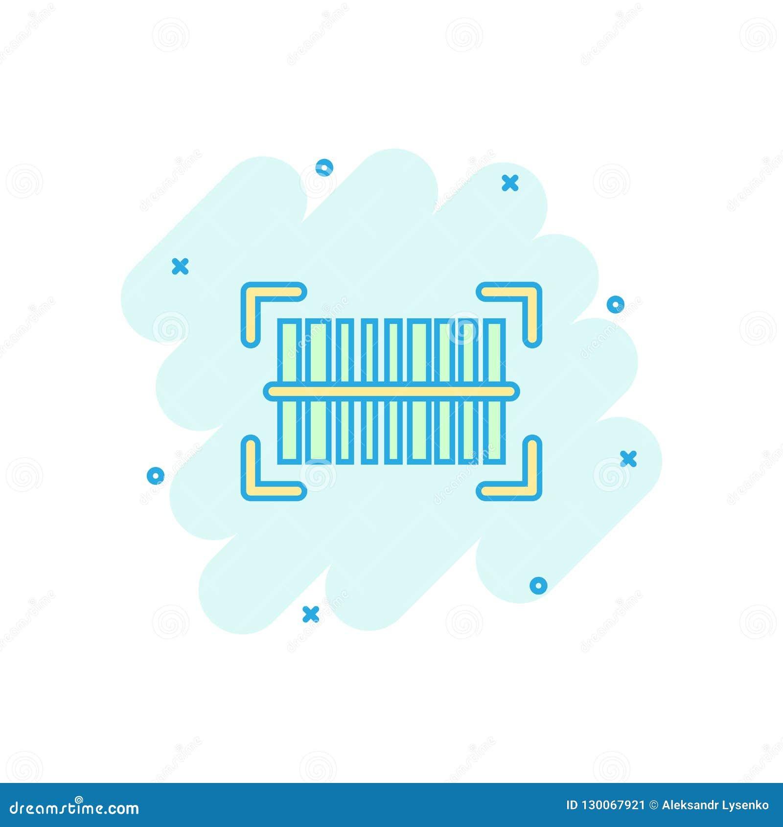 Wektorowa kreskówki barcode produktu dystrybuci ikona w komiczka stylu