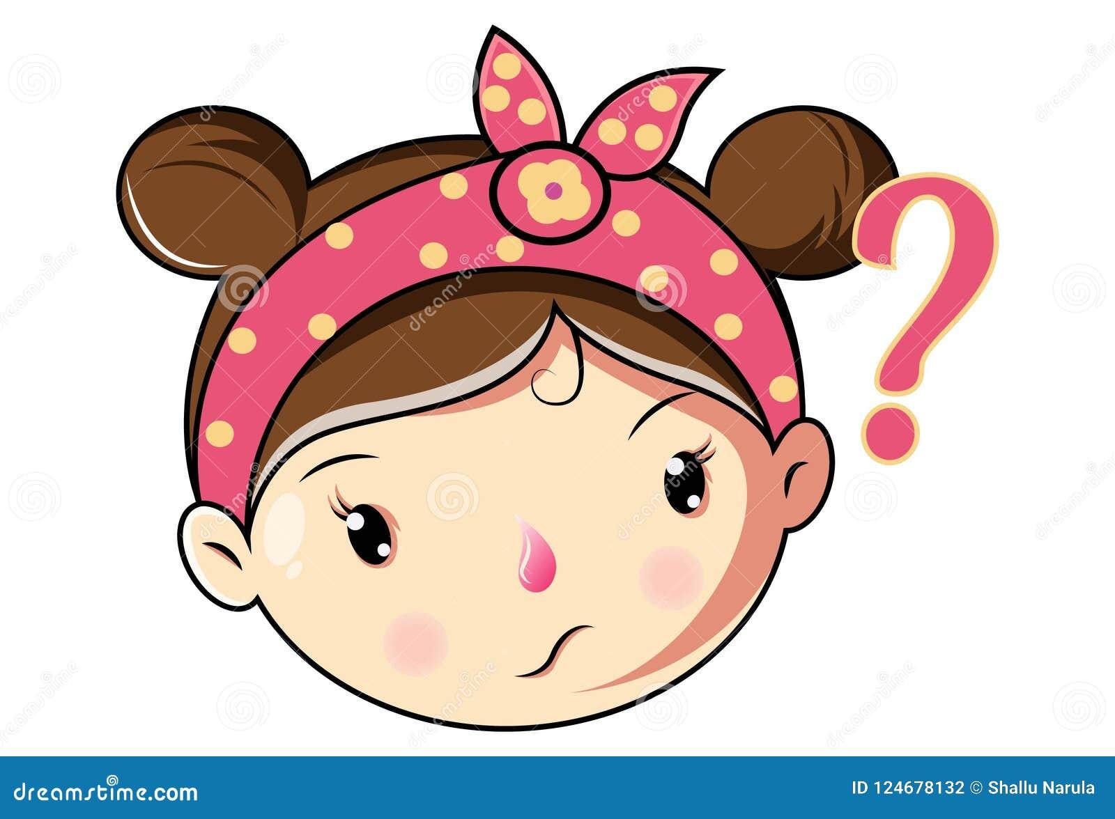 Wektorowa kreskówki ilustracja Śliczna dziewczyny twarz