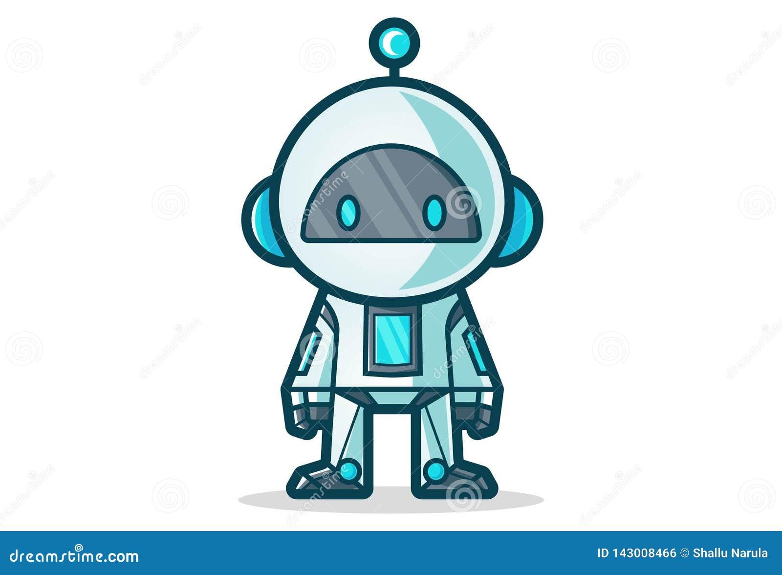 Wektorowa kreskówki ilustracja Śliczny robot