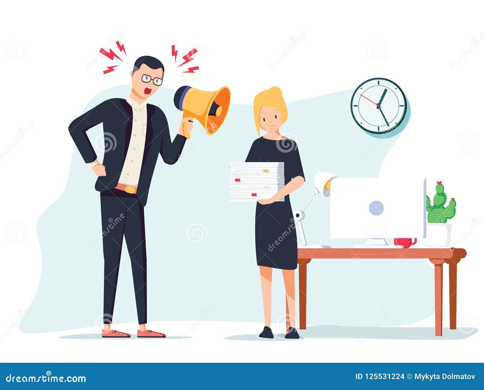 Wektorowa kreskówki ilustracja gniewny szef i przelękły pracownik Mężczyzna pozycja blisko stołu