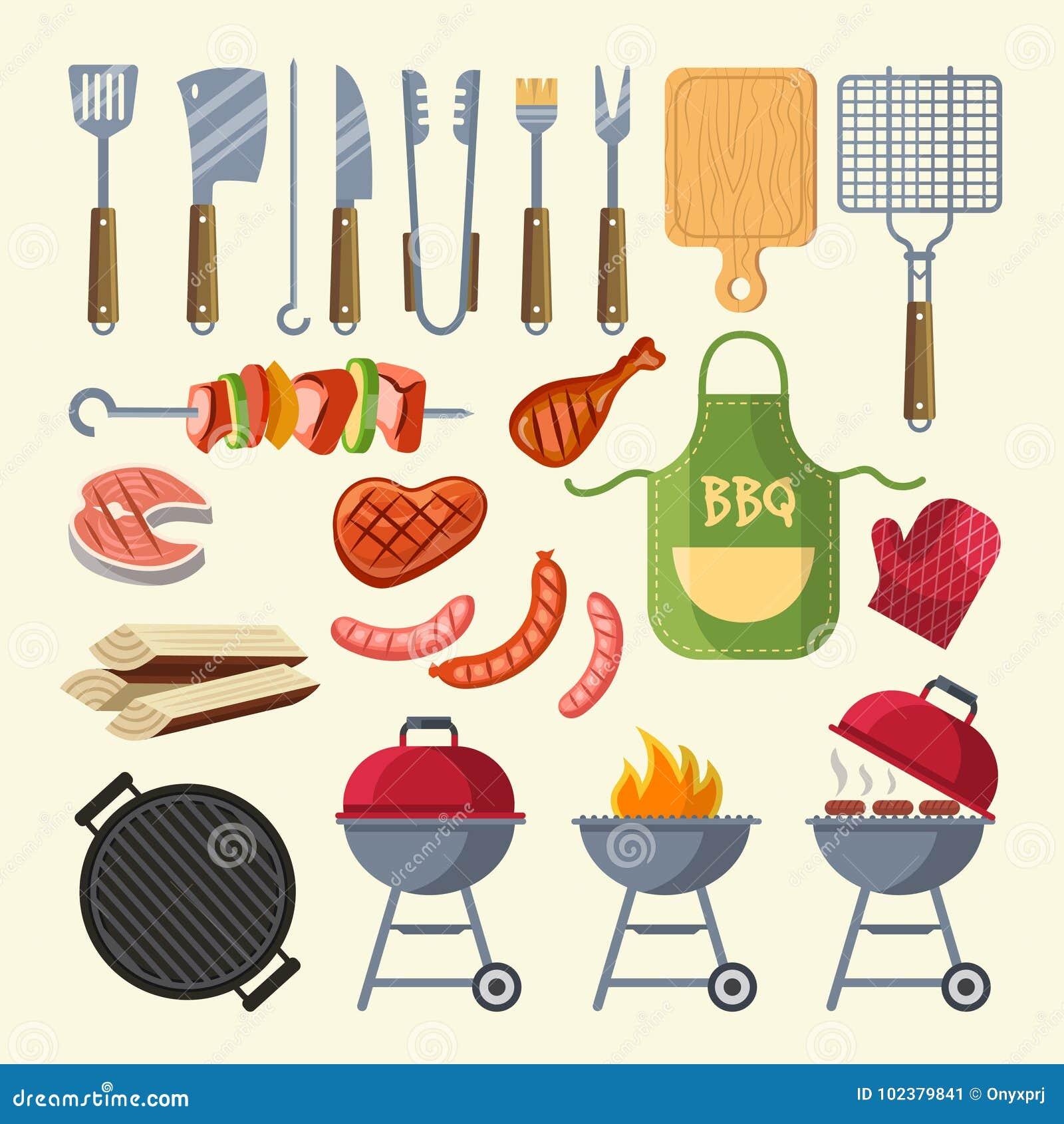 Wektorowa kreskówki ilustracja mięso, kumberland, grill i inni elementy dla bbq, bawimy się