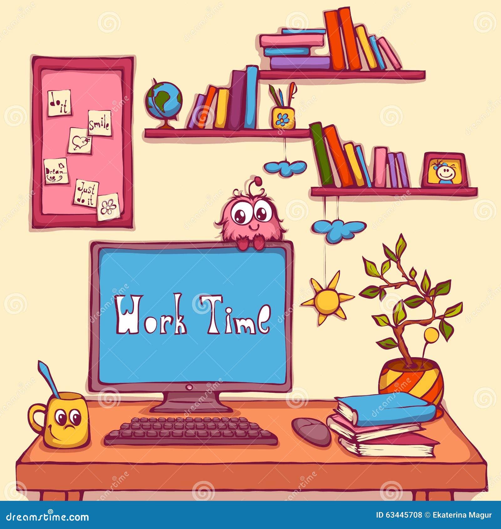 Wektorowa kreskówki ilustracja miejsce pracy w biurze