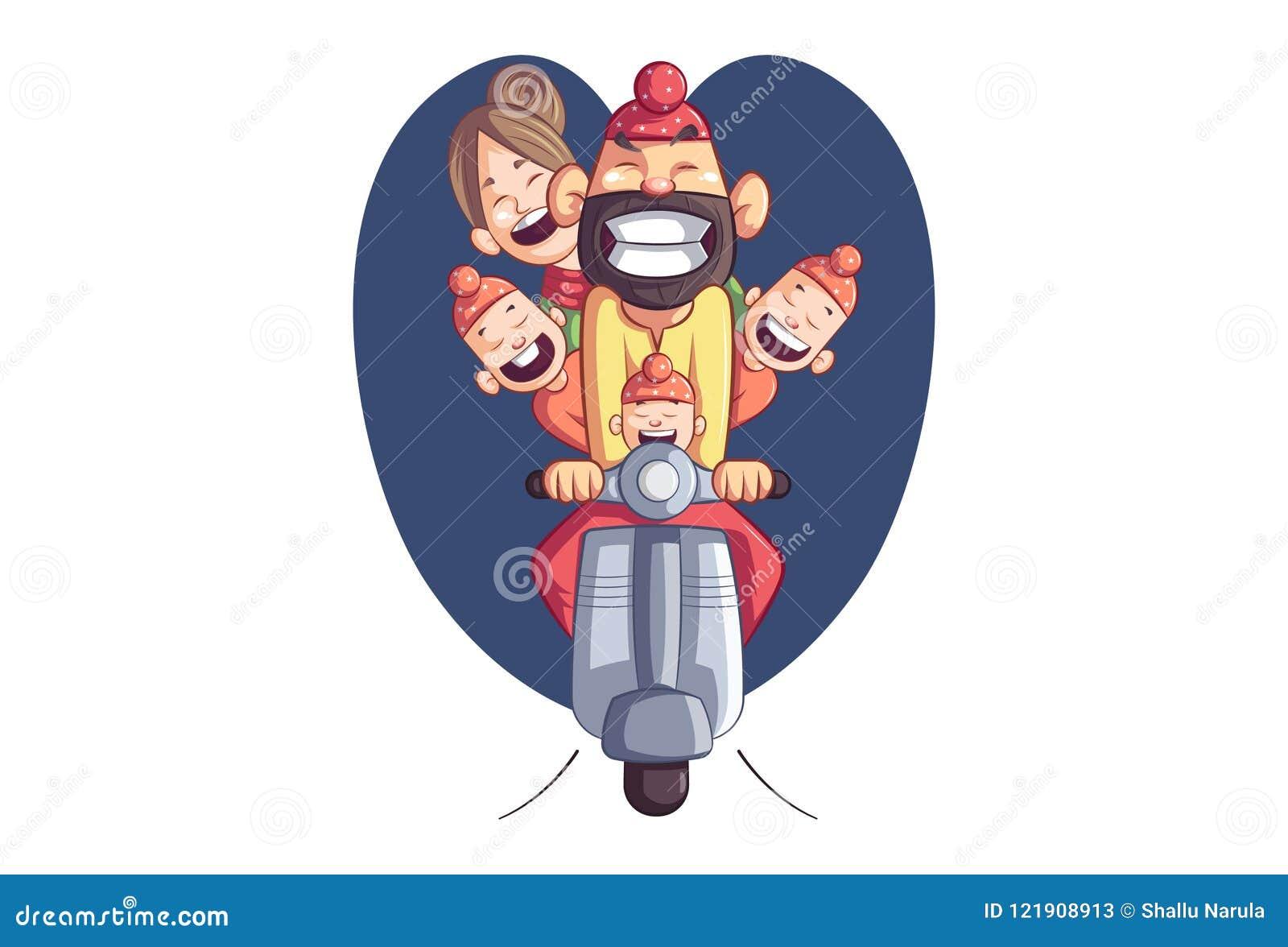 Wektorowa kreskówki ilustracja mieszkanowie pendżabu Sardar