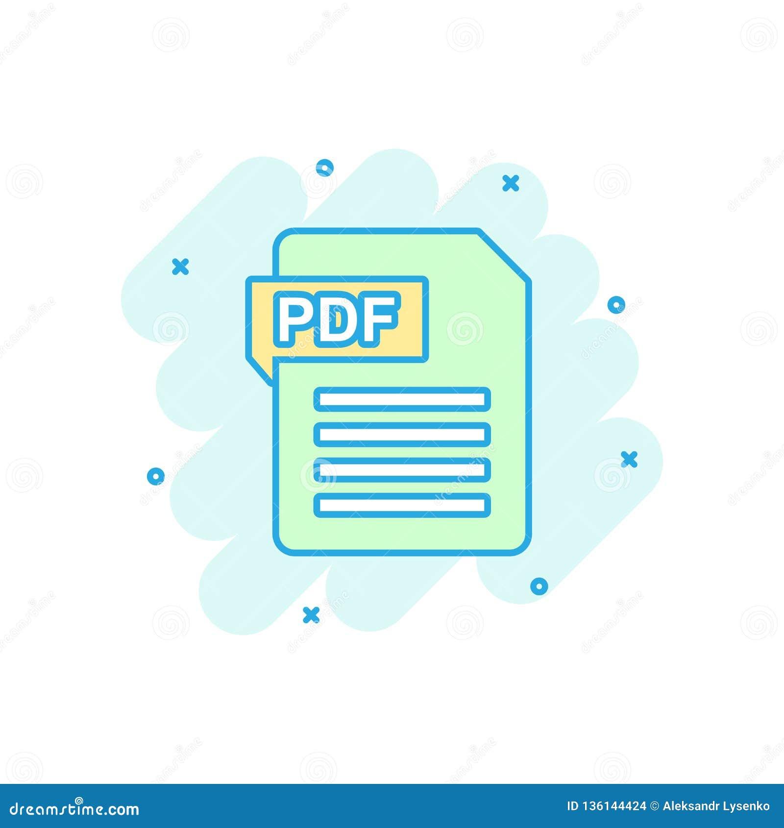 Wektorowa kreskówki PDF ściągania ikona w komiczka stylu PDF formata znaka ilustraci piktogram Dokumentu pluśnięcia skutka biznes