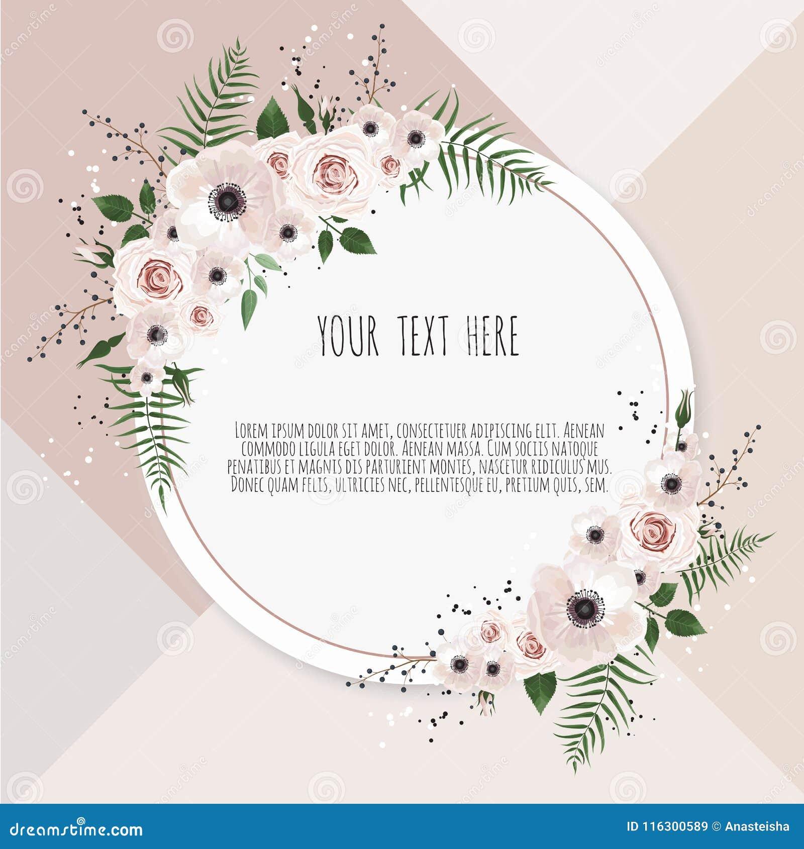 Wektorowa kwiecistego projekta karta Powitanie, pocztówkowy ślub zaprasza szablon Elegancka rama z różanym i anemonowym