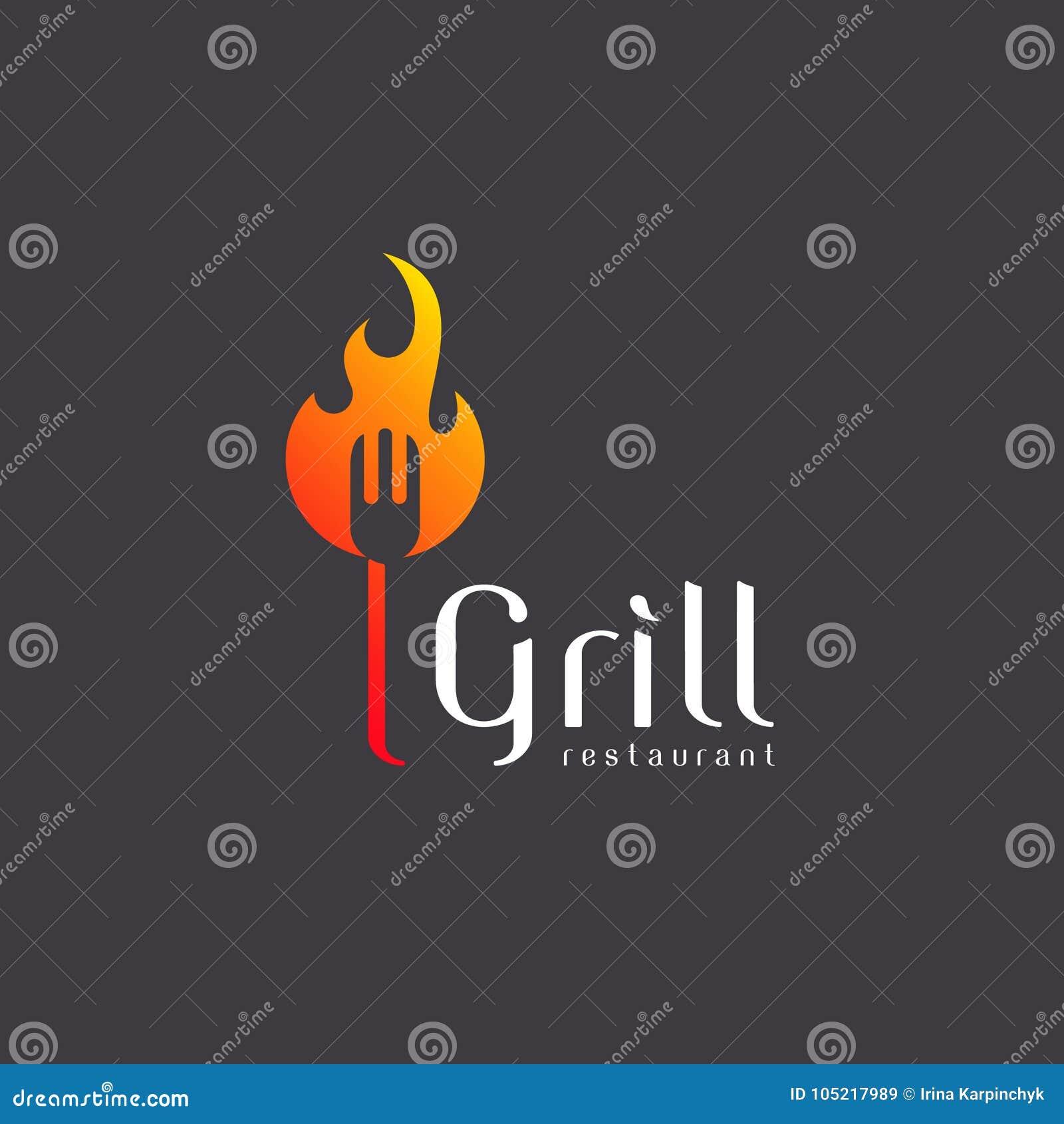 Wektorowa loga projekta grilla restauracja opieczenie grill
