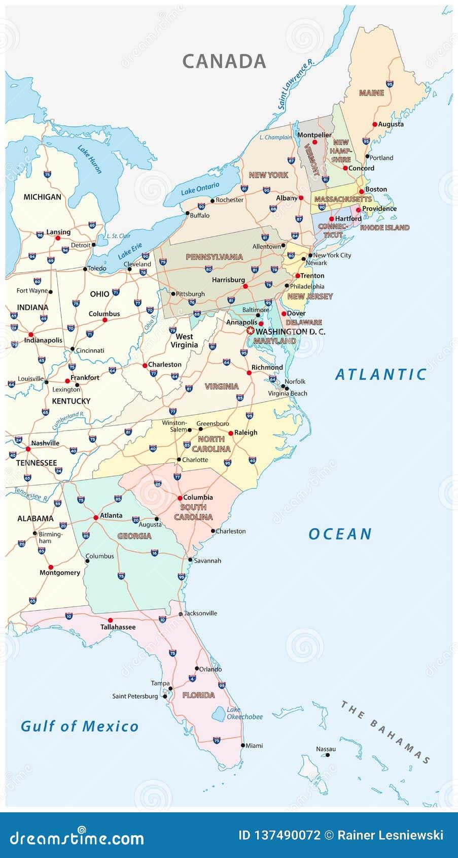 Wektorowa Mapa Wschodnie Wybrzeze Stany Zjednoczone Ilustracja