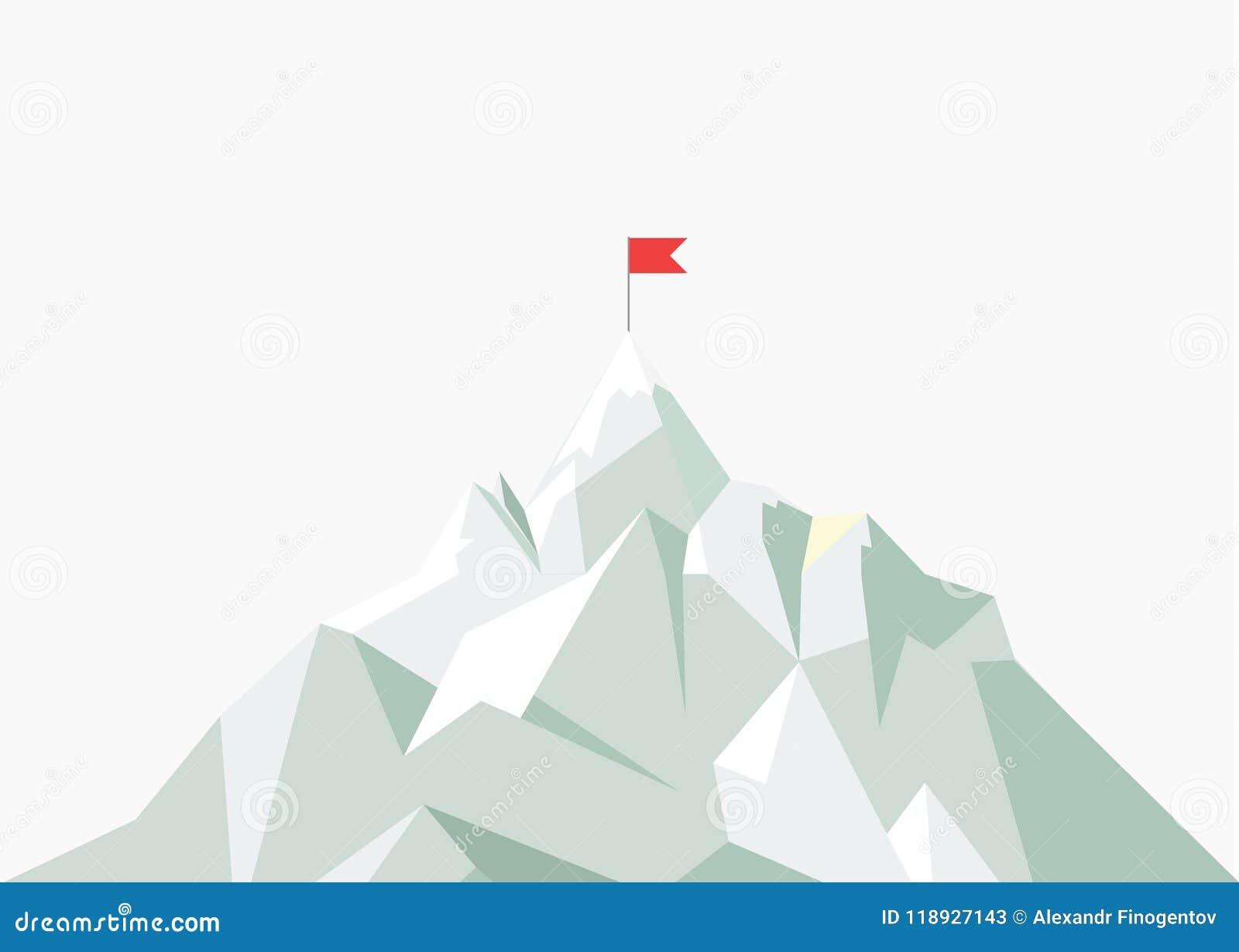 Wektorowa mieszkanie flaga na górze Niski poli- projekt Sukces ilustracja Bramkowy osiągnięcie pojęcia prowadzenia domu posiadani