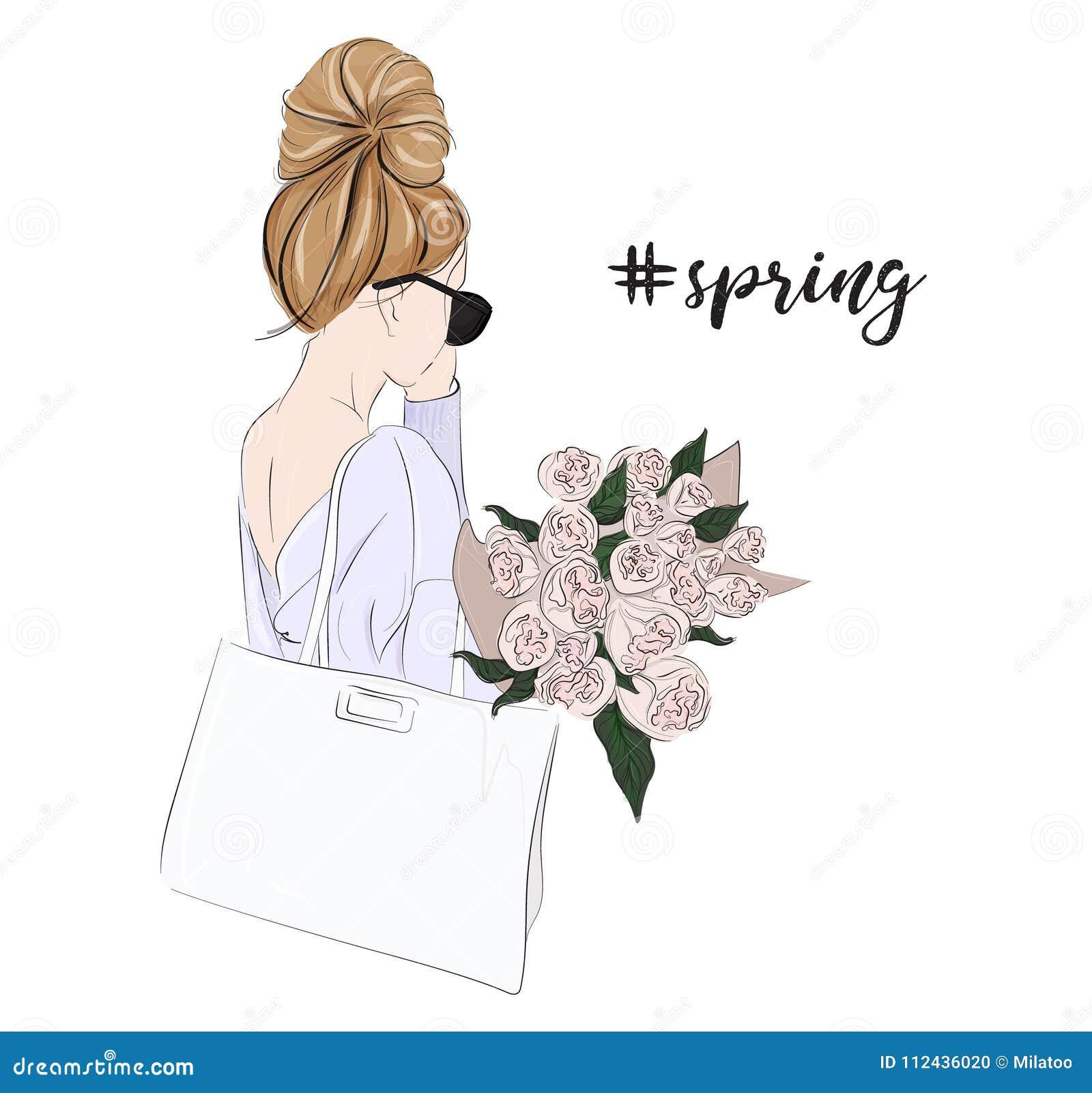 Wektorowa moda splendoru ilustracja dirl mienia bukiet kwiaty Czuła kobieta z róży wiosny portretem piękny kwiecisty