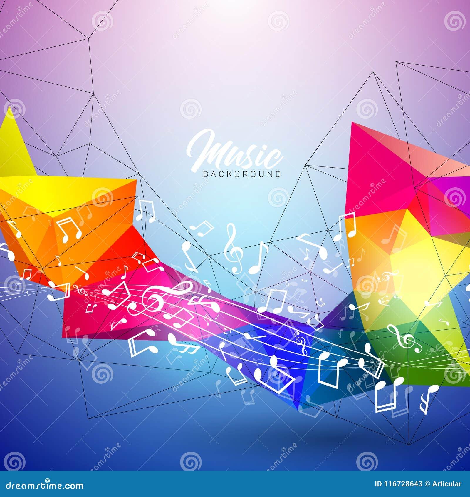 Wektorowa Muzyczna ilustracja z spada notatkami i abstrakcjonistycznym koloru projektem na błękitnym tle dla zaproszenie sztandar