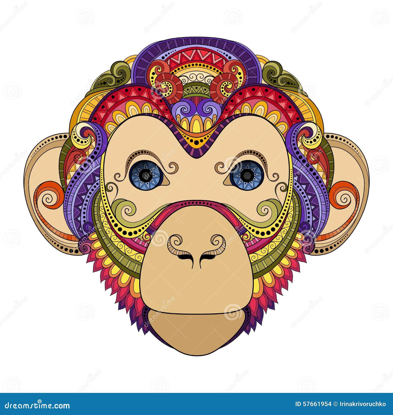 Wektorowa Ozdobna małpy głowa