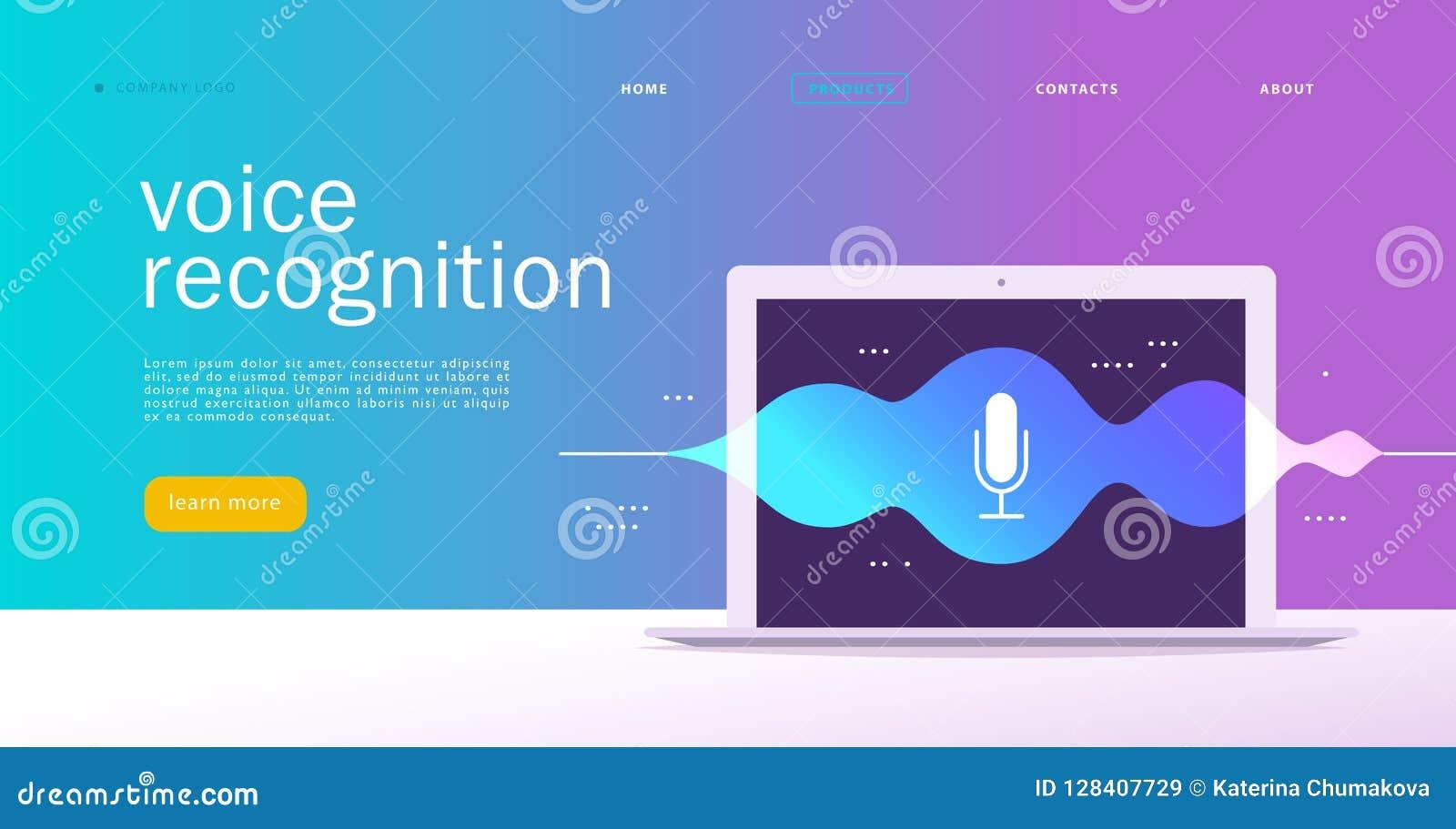 Wektorowa płaska głosu rozpoznania ilustracja Desantowy strona projekt Laptopu ekran z rozsądnymi fala i mikrofon dynamiczną ikon