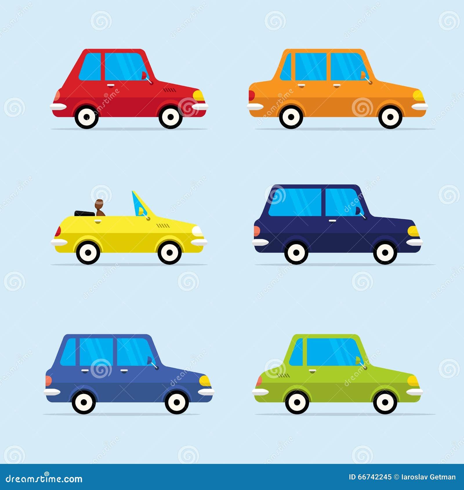 Wektorowa Płaska ikona Ustawiająca Nowożytni pojazdy
