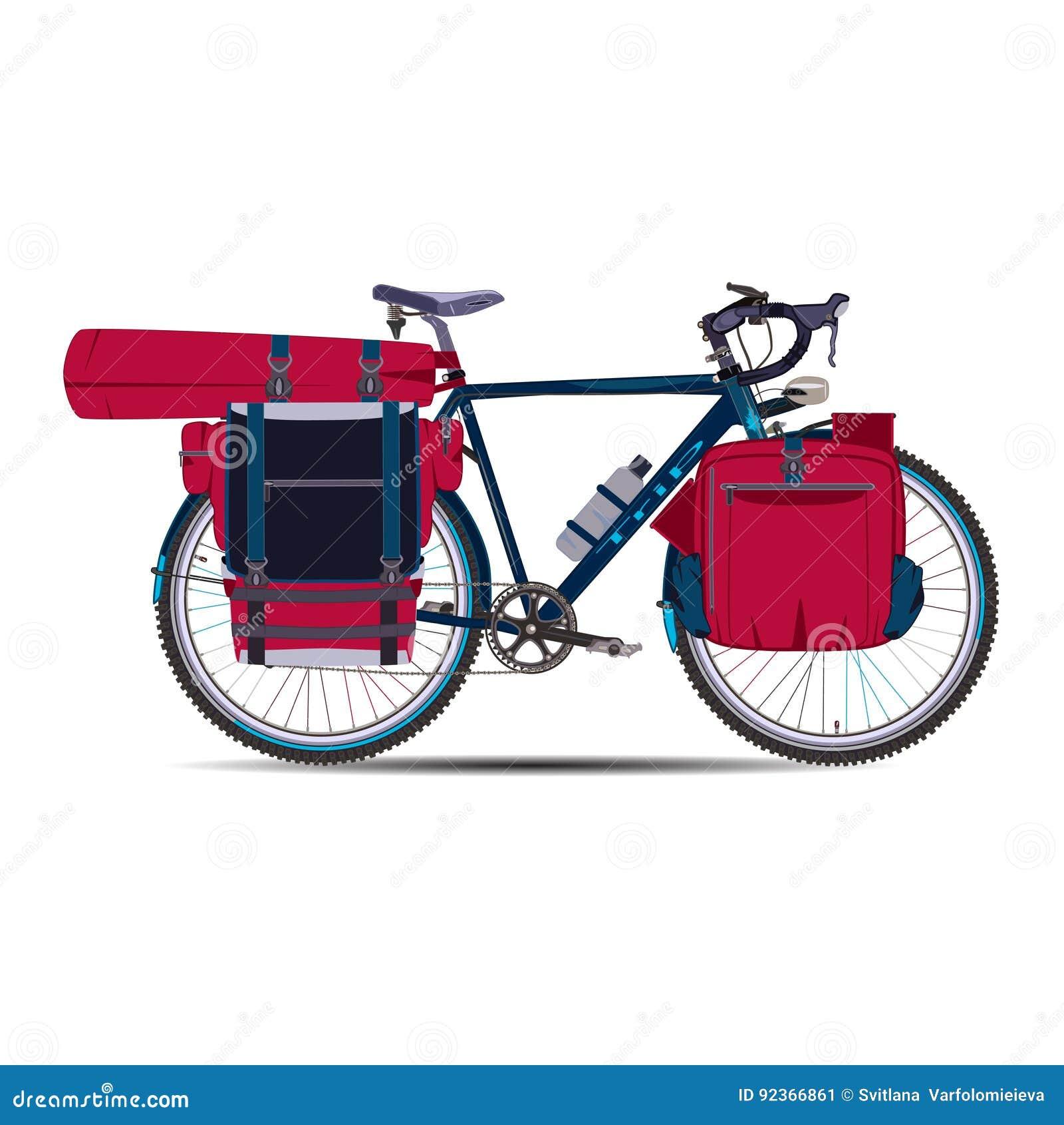 Wektorowa płaska ilustracja krajoznawstwo rower z bikepacking przekładnią