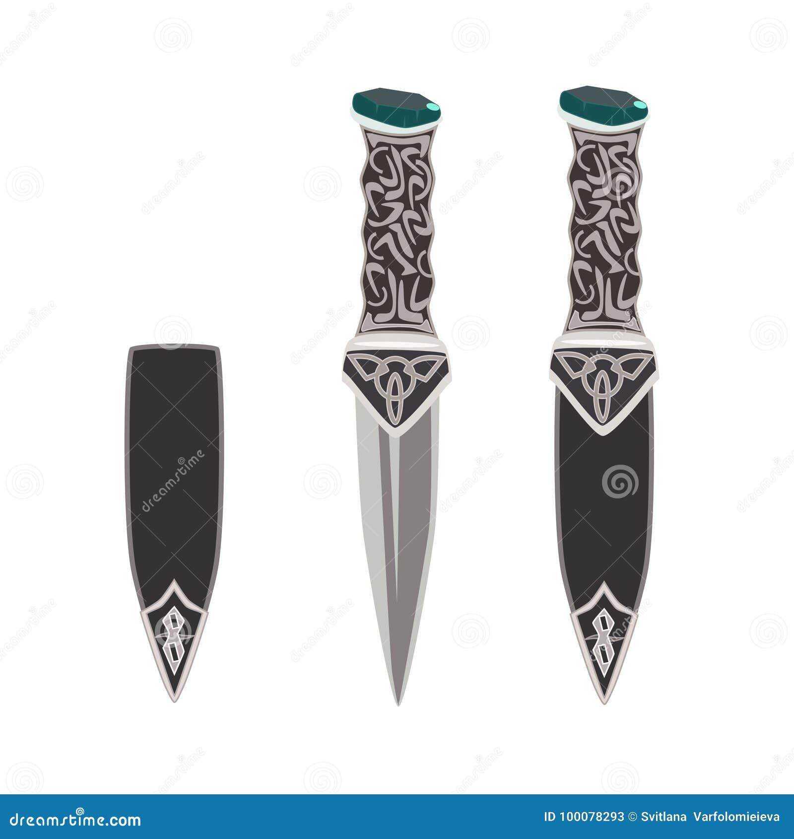 Wektorowa płaska ilustracja sgian dubh, szkocki czarny nóż