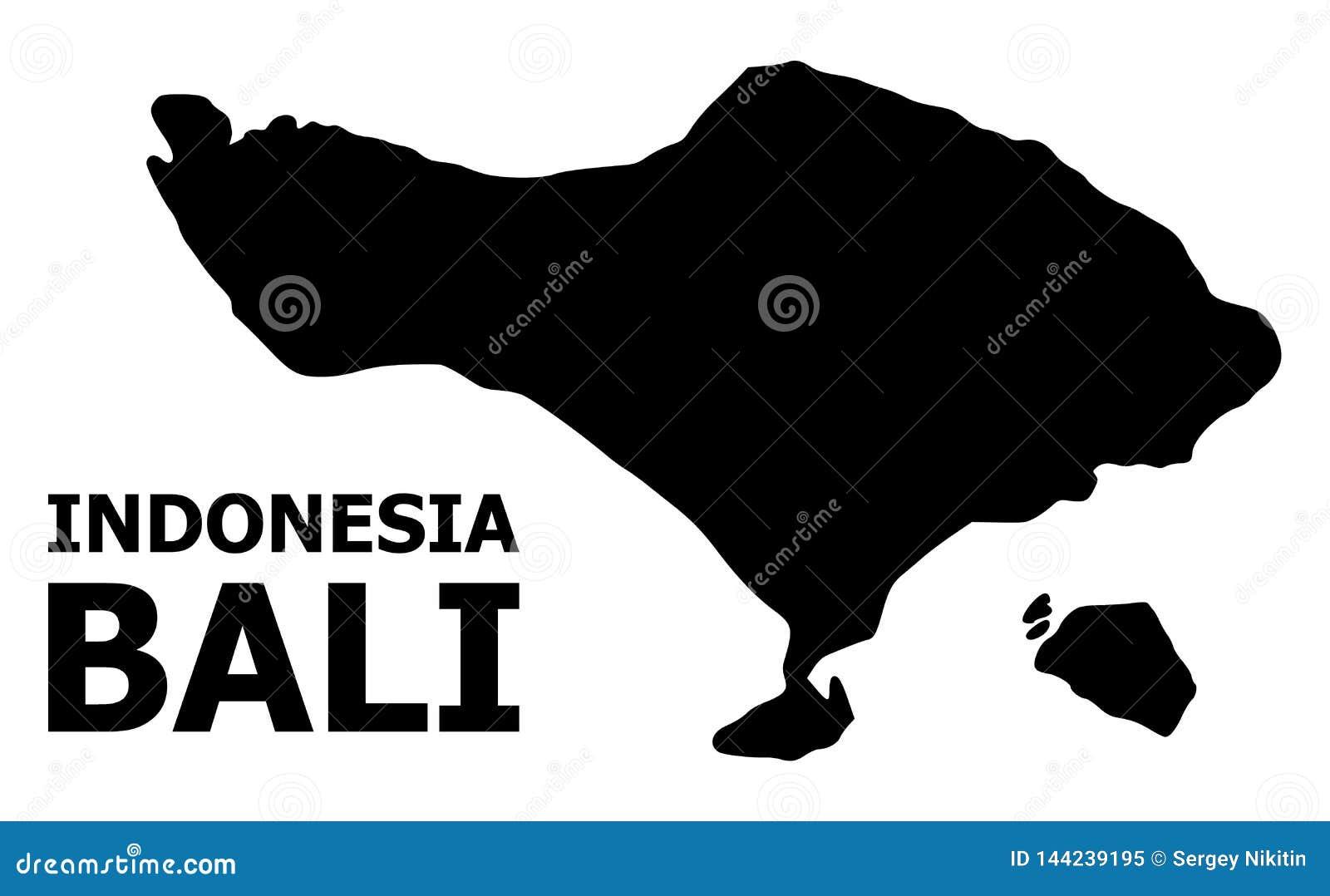 Wektorowa Płaska mapa Bali wyspa z imieniem