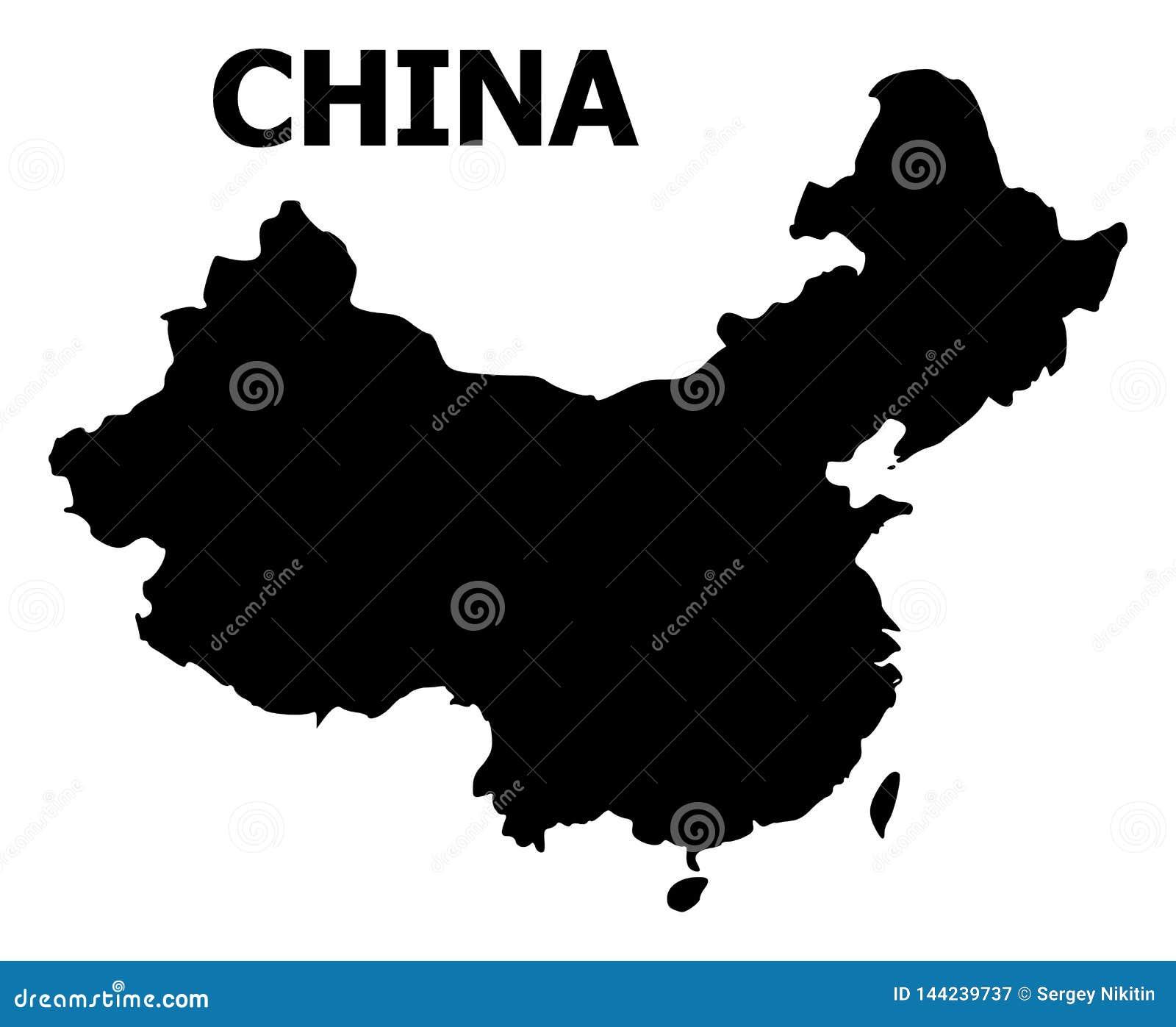 Wektorowa Płaska mapa Chiny z imieniem