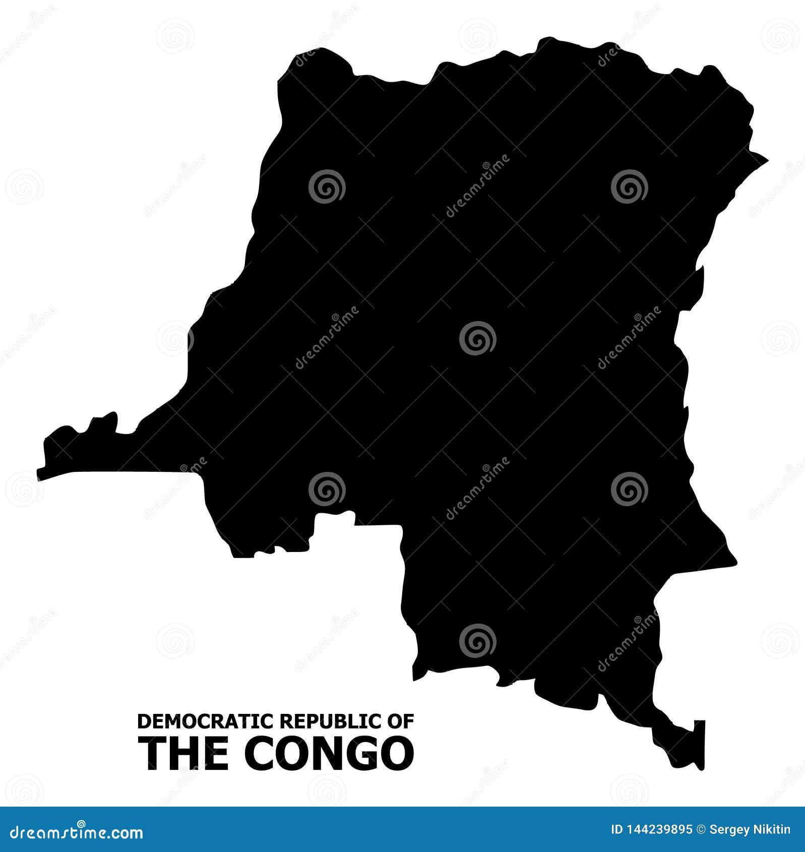 Wektorowa Płaska mapa Demokratyczna republika Kongo z podpisem