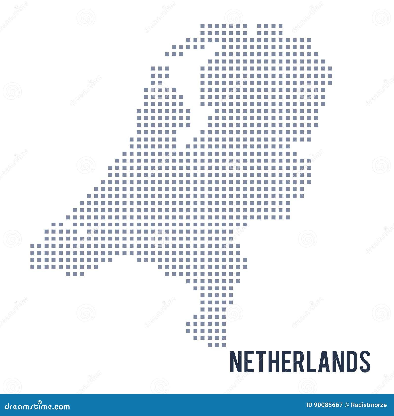 Wektorowa piksel mapa holandie odizolowywać na białym tle