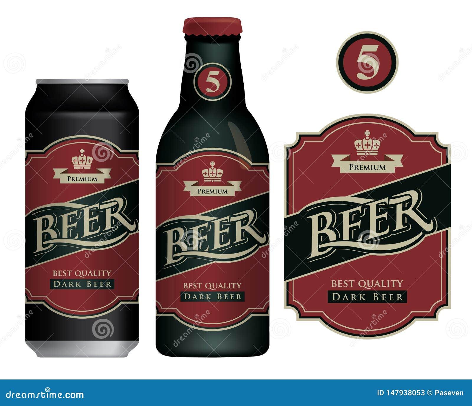 Wektorowa piwna etykietka na piwnej puszce i butelce