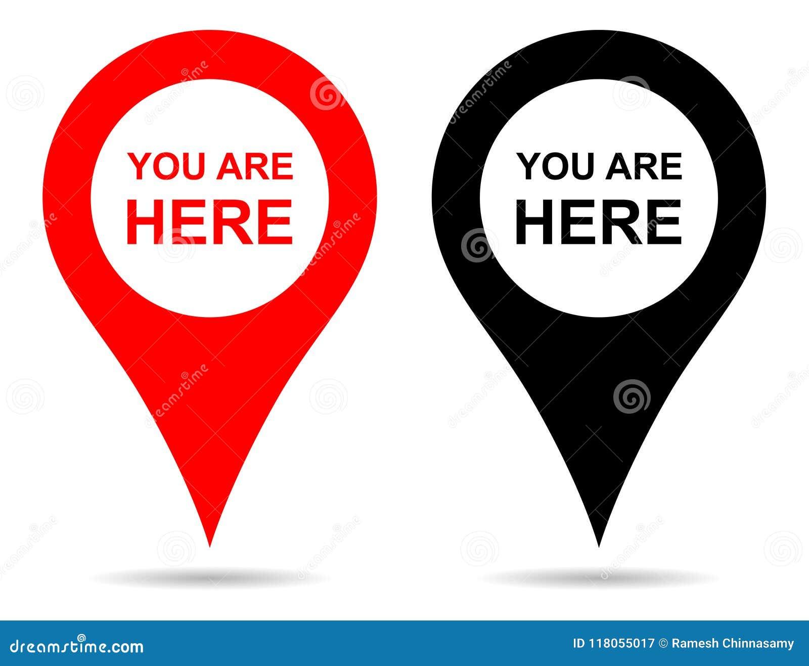 Wektorowa pointer mapy szpilki nawigacja Ty Tutaj Szyldowy Jesteś