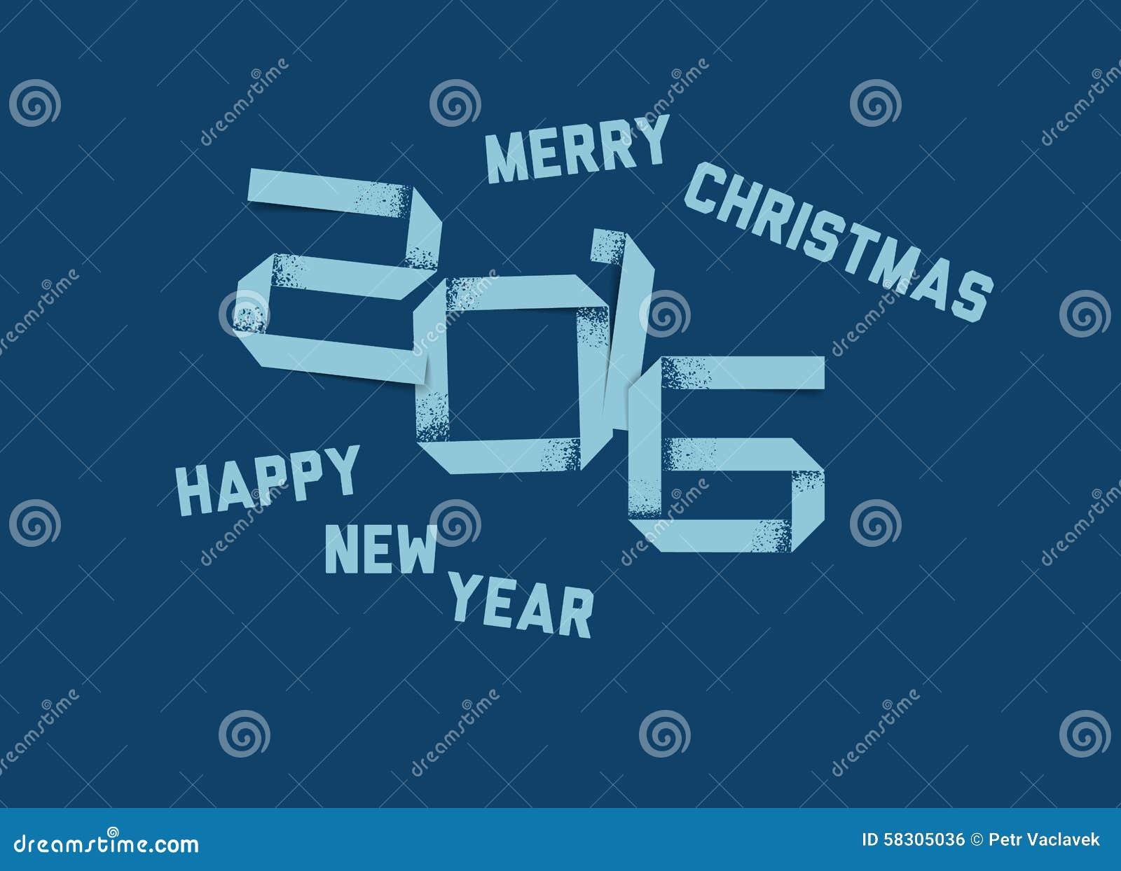 Wektorowa prosta Szczęśliwa nowy rok karta 2016