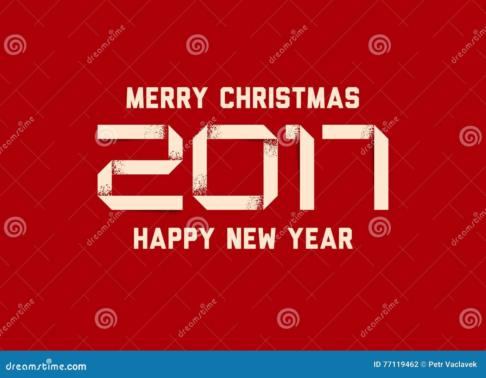 Wektorowa prosta Szczęśliwa nowy rok karta 2017