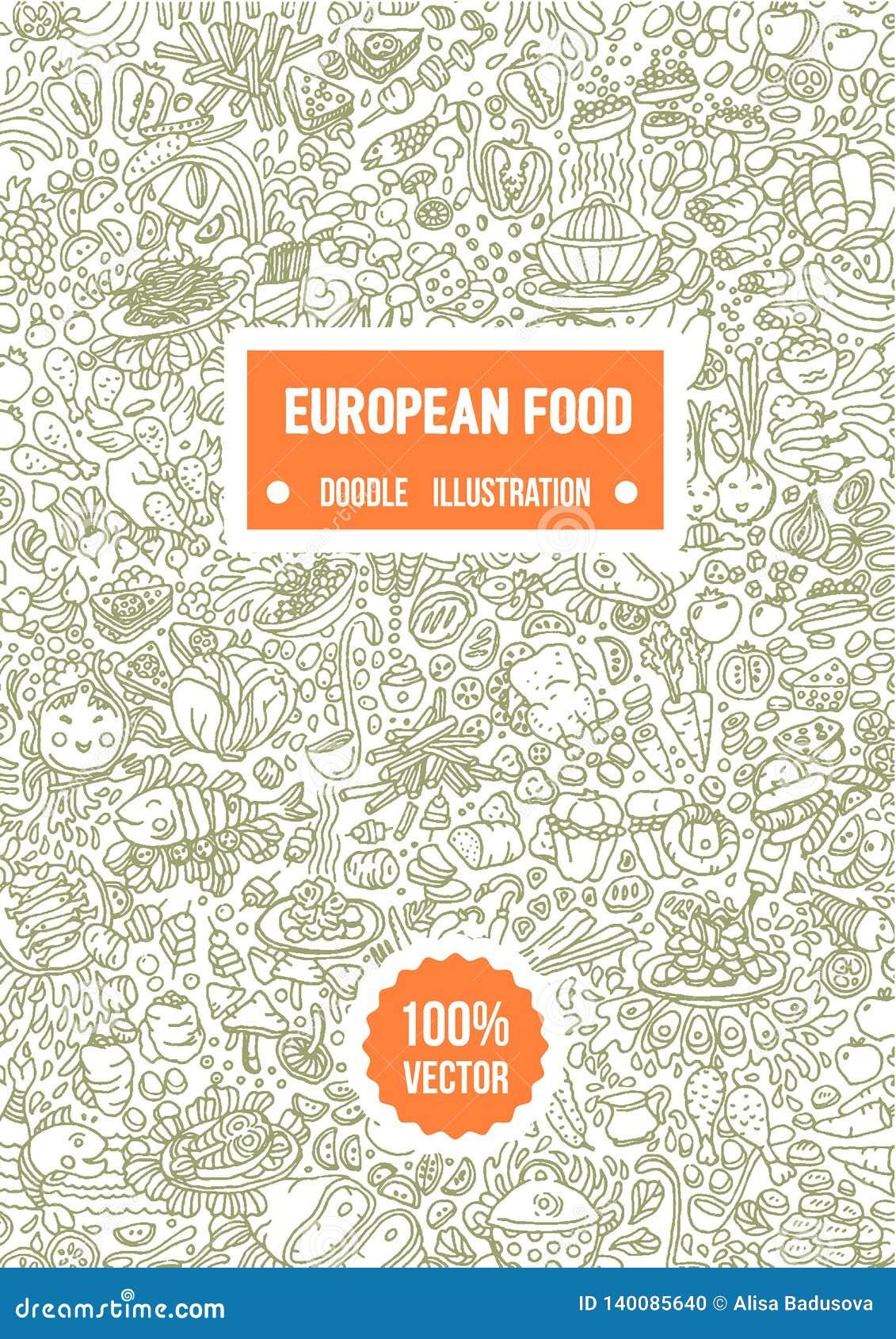 Wektorowa ręka rysująca ilustracja Europejska karmowa doodle ilustracja na białym tle