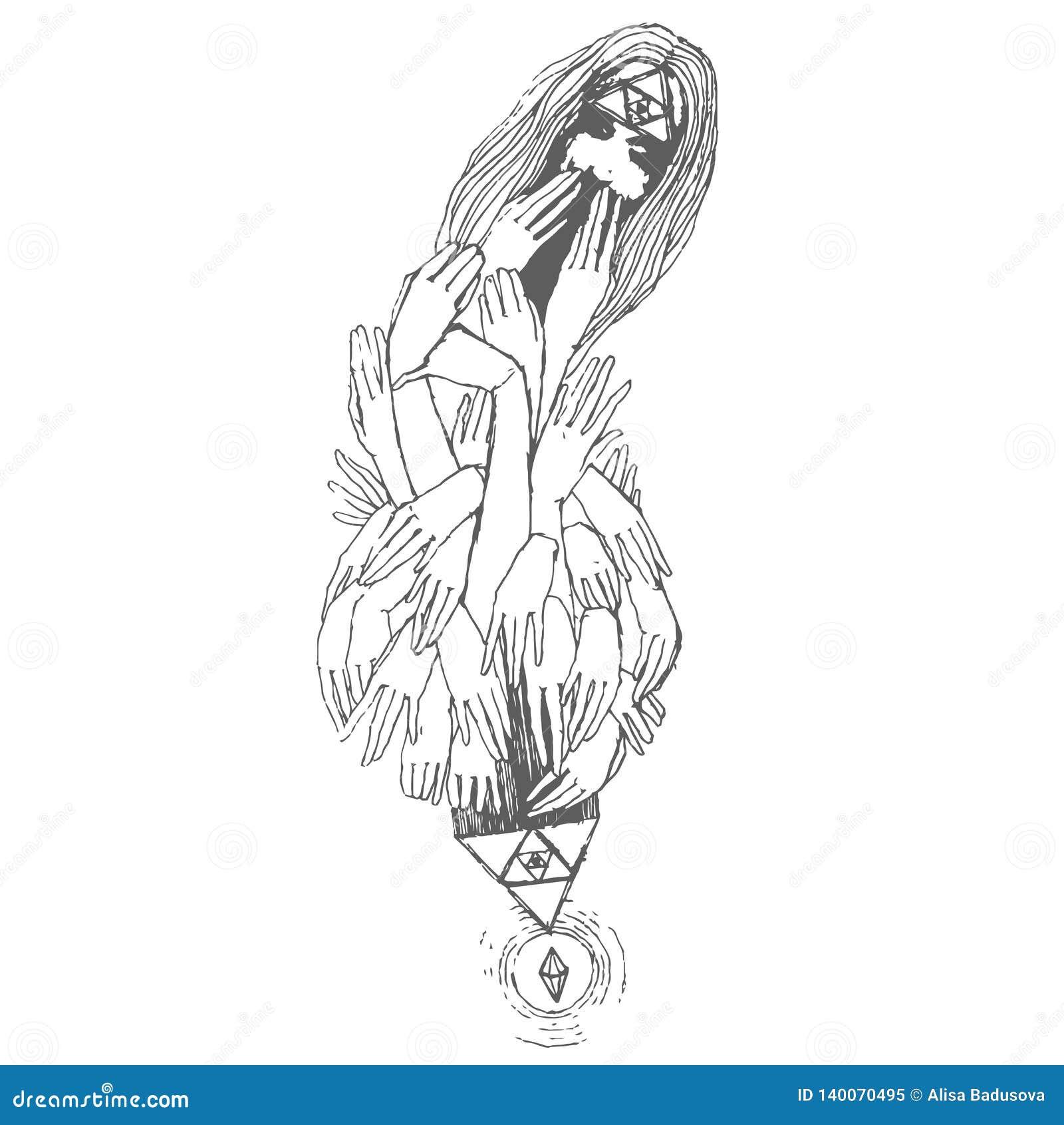 Wektorowa ręka rysujący nakreślenie druk dziewczyna z rękami drukuje ilustrację na białym tle