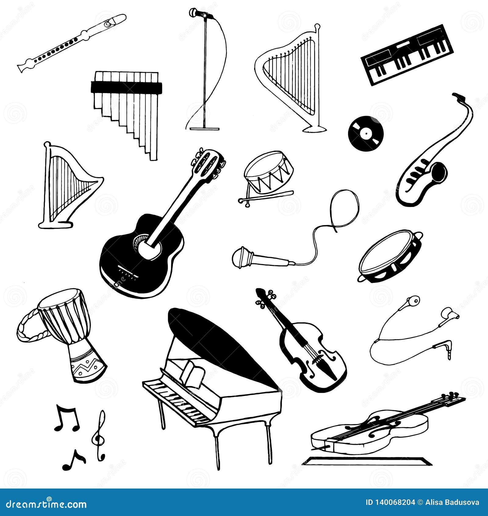 Wektorowa ręka rysujący nakreślenie muzyczni instrumenty ilustracyjni na białym tle